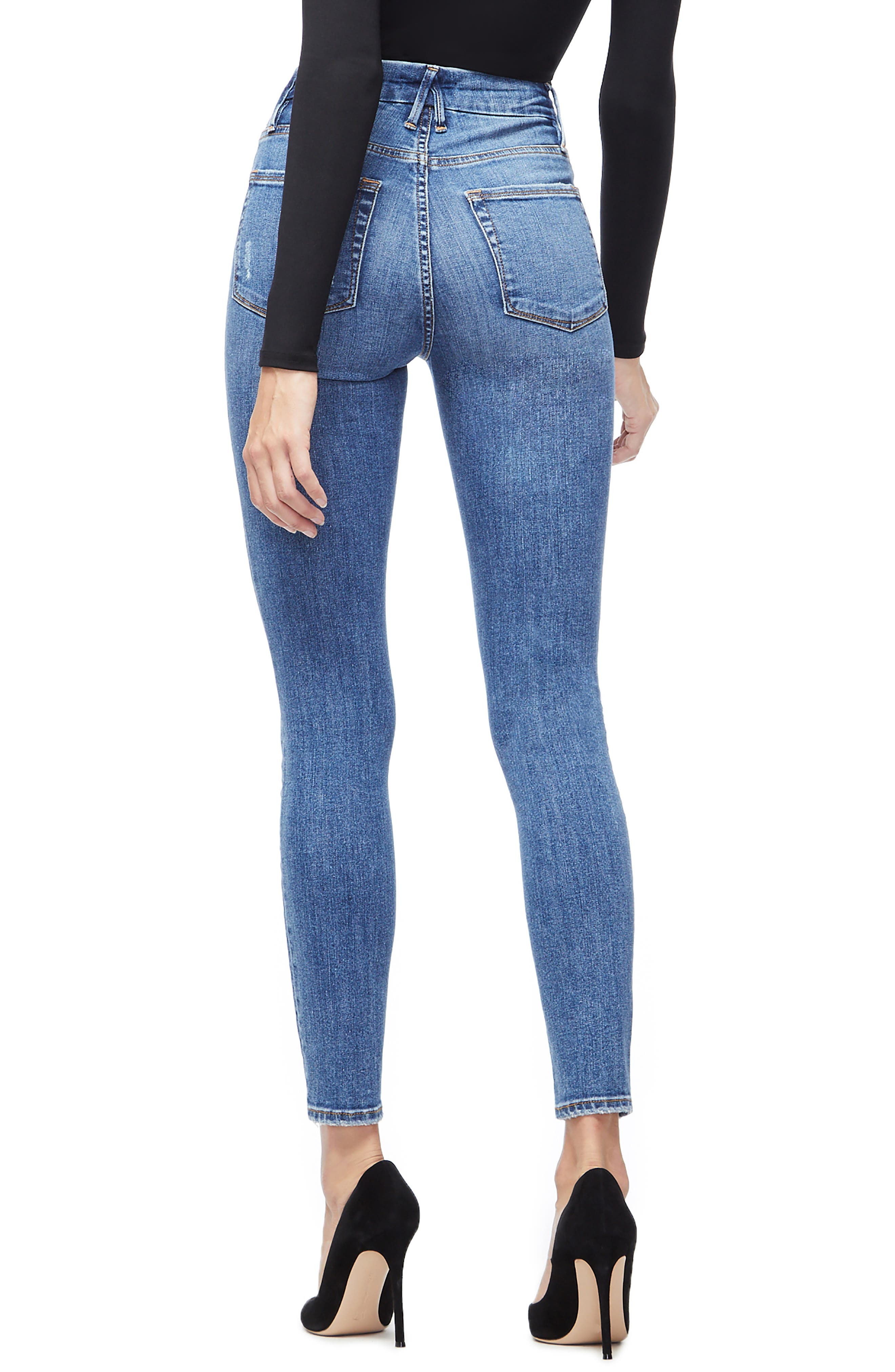 GOOD AMERICAN, Good Waist High Waist Skinny Jeans, Alternate thumbnail 4, color, BLUE213