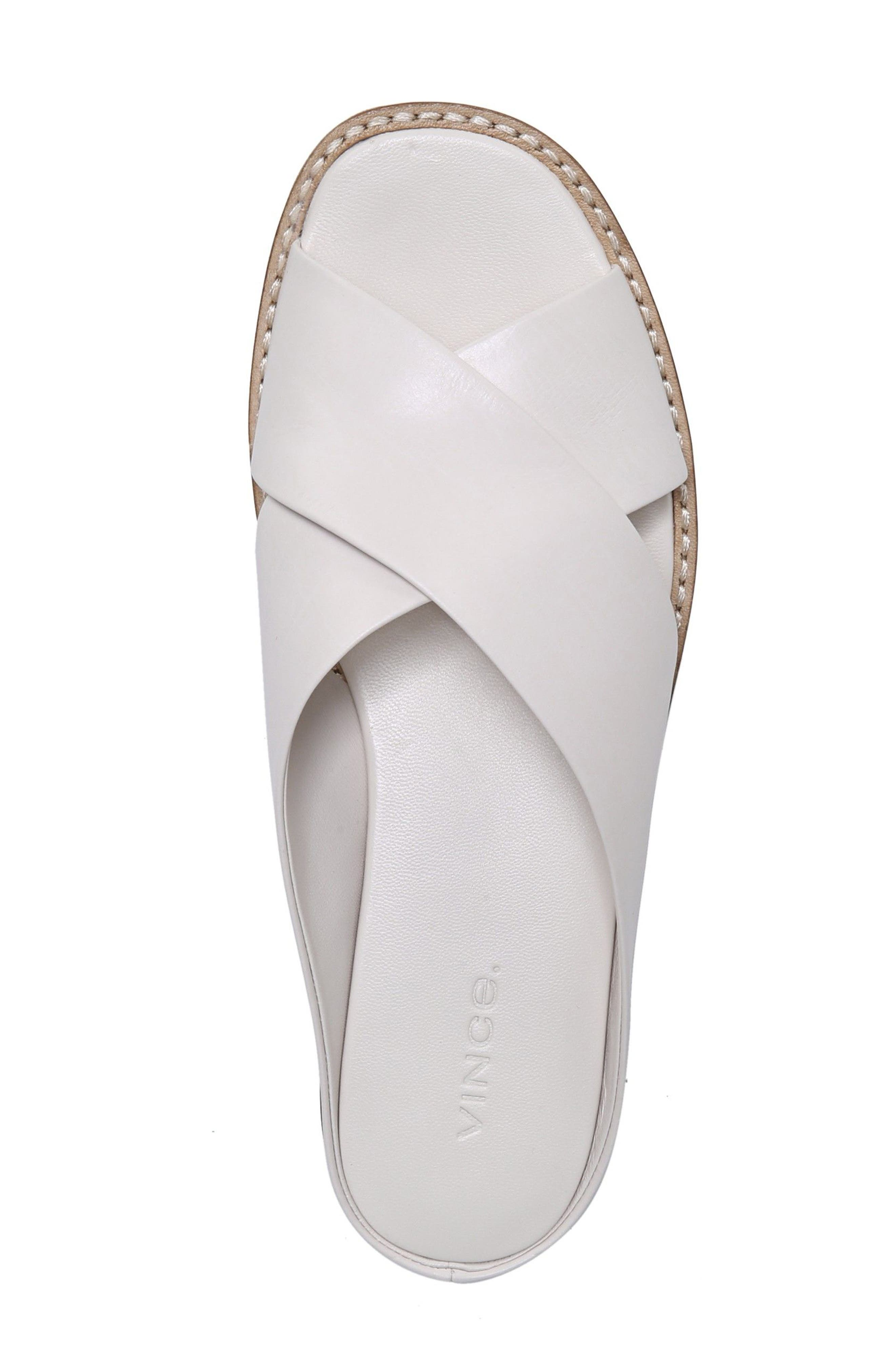 VINCE, Fairley Cross Strap Sandal, Alternate thumbnail 5, color, OFF WHITE LEATHER