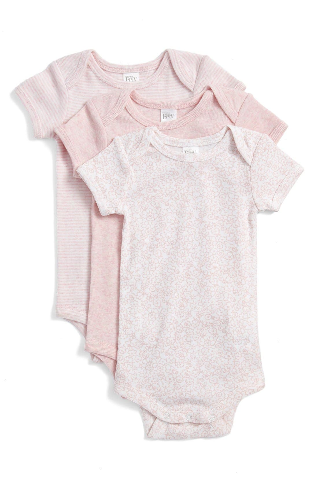 NORDSTROM BABY, Short Sleeve Cotton Bodysuits, Main thumbnail 1, color, PINK BABY PACK