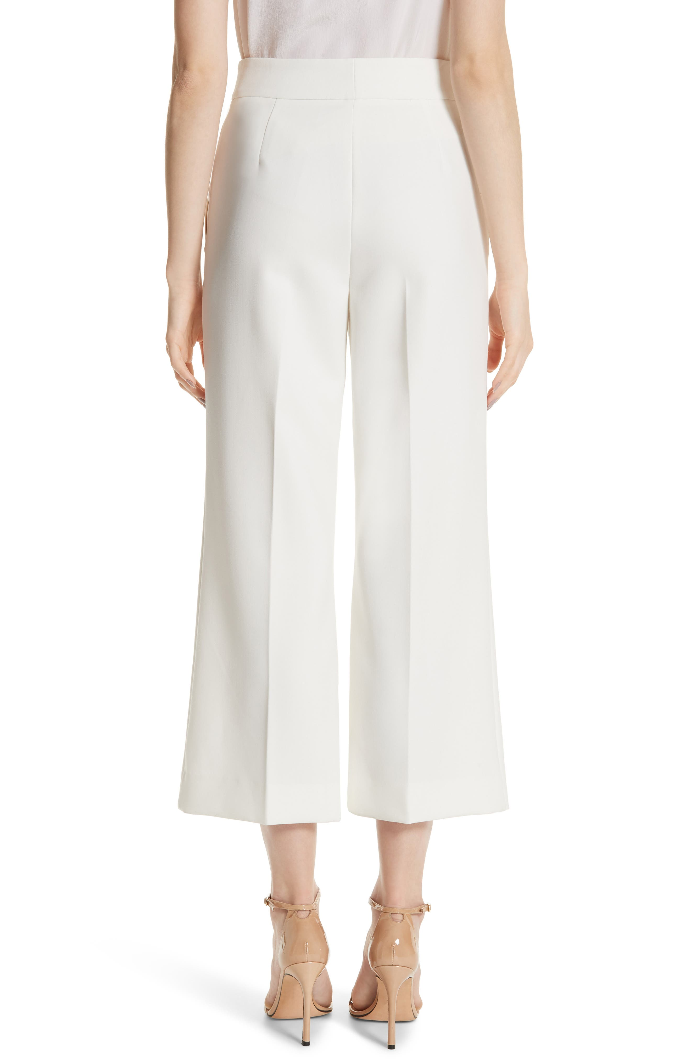 ST. JOHN COLLECTION, Bella Double Weave Crop Flare Pants, Alternate thumbnail 2, color, CREAM