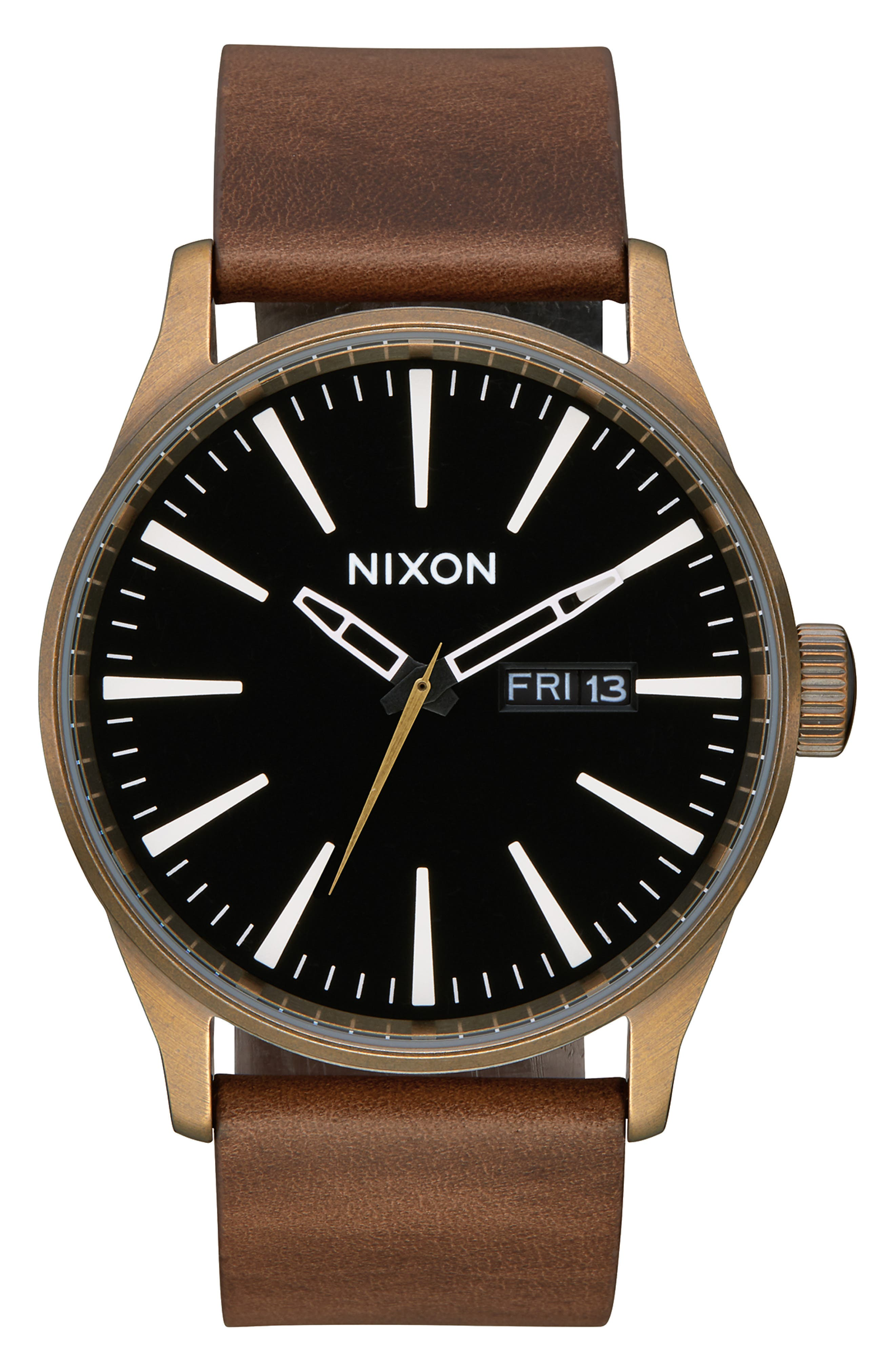 NIXON The Sentry Leather Strap Watch, 42mm, Main, color, BROWN/ BLACK/ BRASS