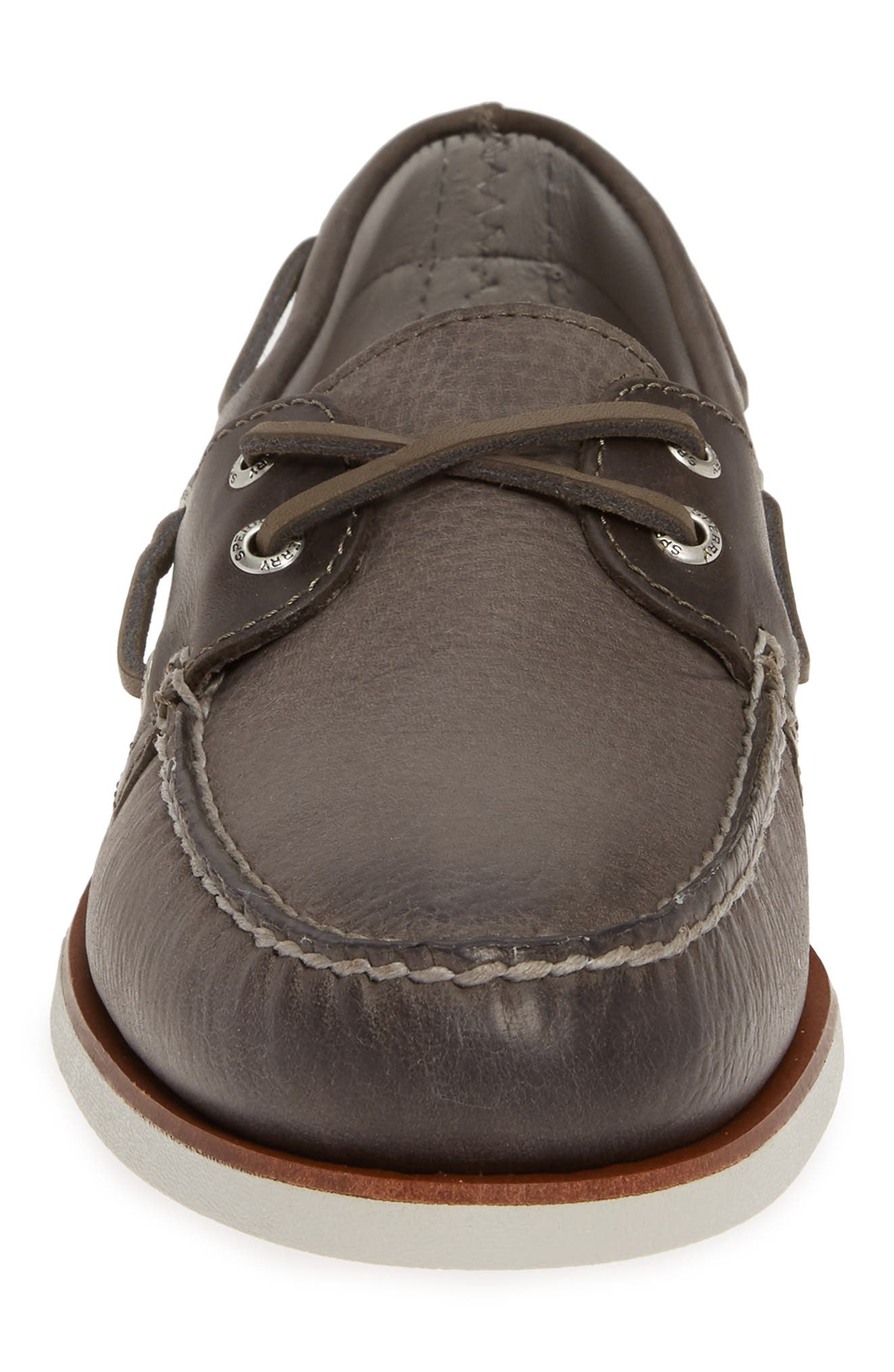 SPERRY, Authentic Original Gold Rivinton Boat Shoe, Alternate thumbnail 4, color, GREY