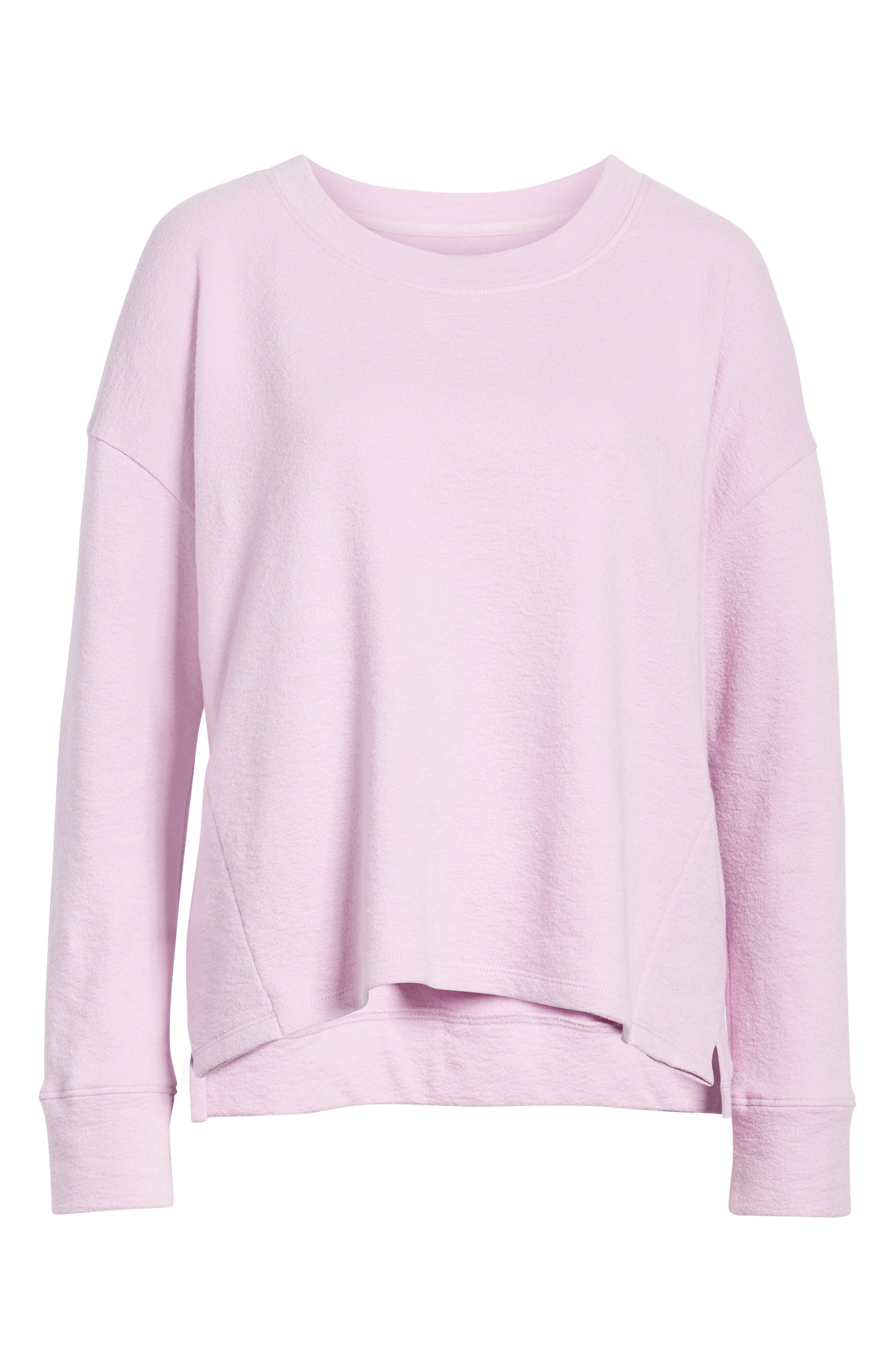 CASLON<SUP>®</SUP>, Side Slit Relaxed Sweatshirt, Alternate thumbnail 6, color, PINK BOUQUET