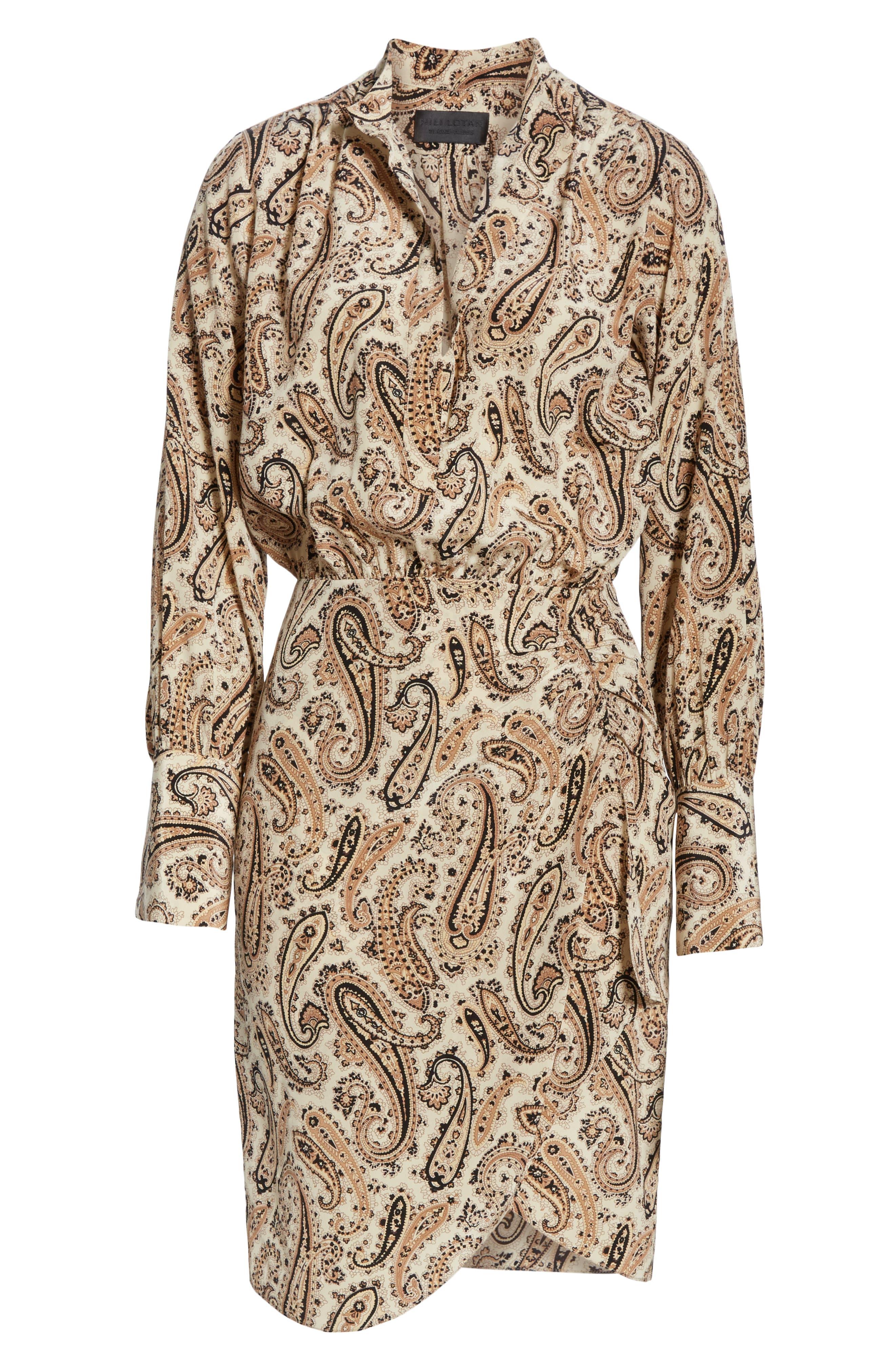NILI LOTAN, Paisley Silk Shirtdress, Alternate thumbnail 7, color, BLACK AND BEIGE PAISLE
