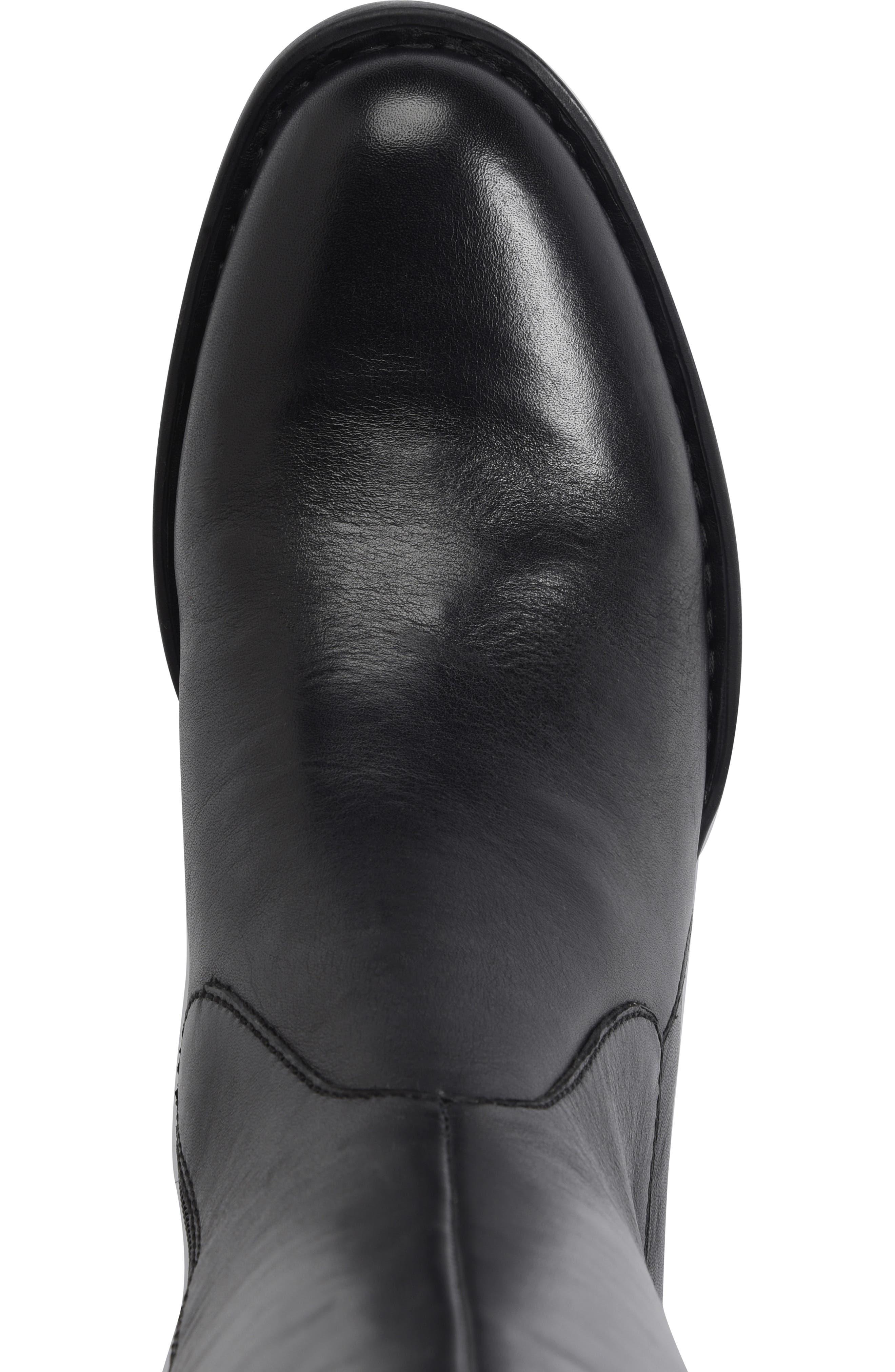 BØRN, Gibb Knee High Riding Boot, Alternate thumbnail 5, color, BLACK LEATHER