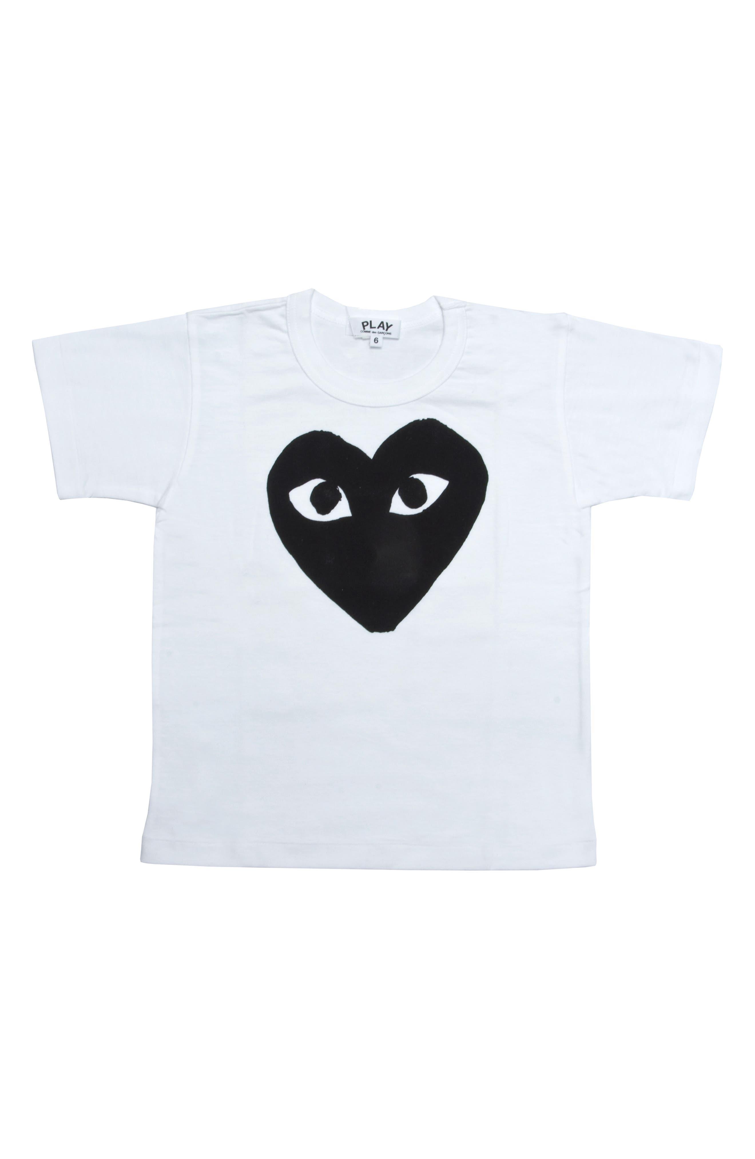 COMME DES GARÇONS PLAY, Black Heart Graphic T-Shirt, Main thumbnail 1, color, WHITE