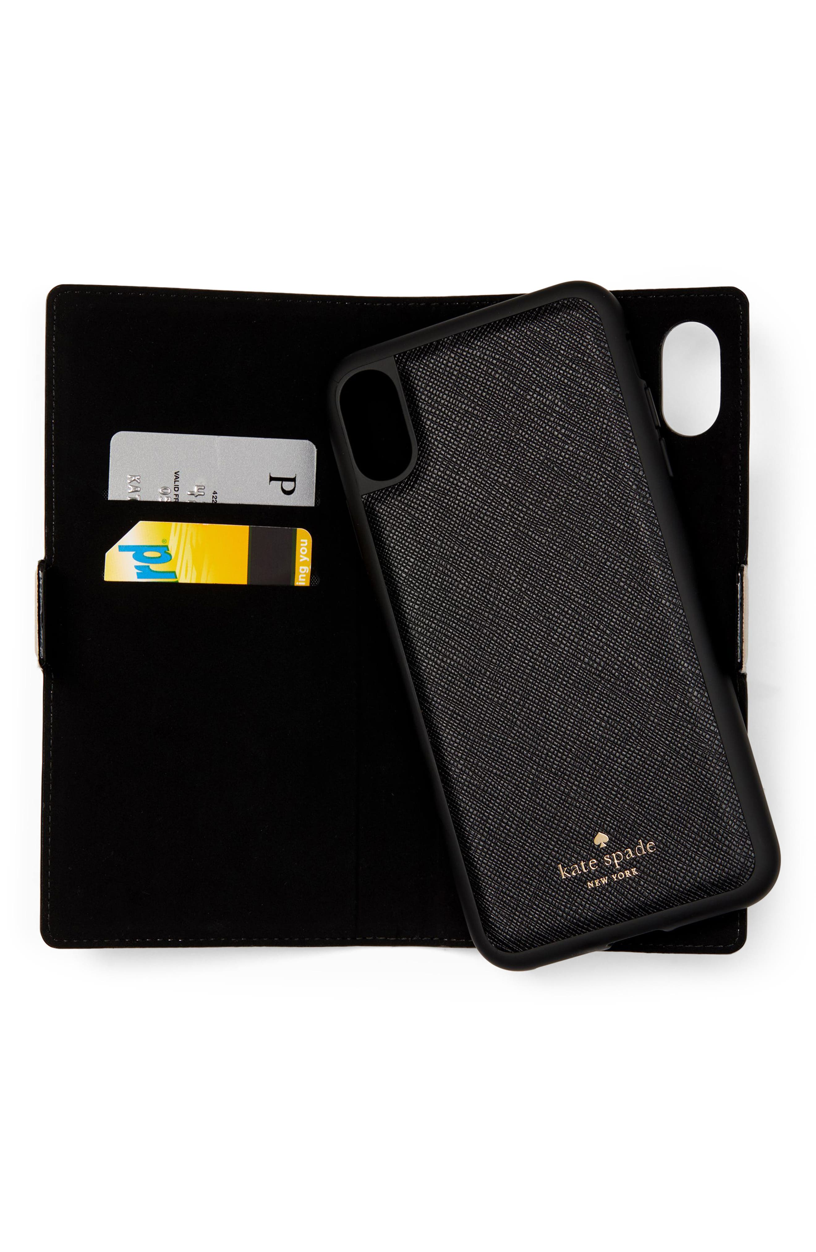 KATE SPADE NEW YORK, iPhone X/Xs/Xs Max & XR magnetic wrap folio case, Alternate thumbnail 5, color, BLACK/ TUSK