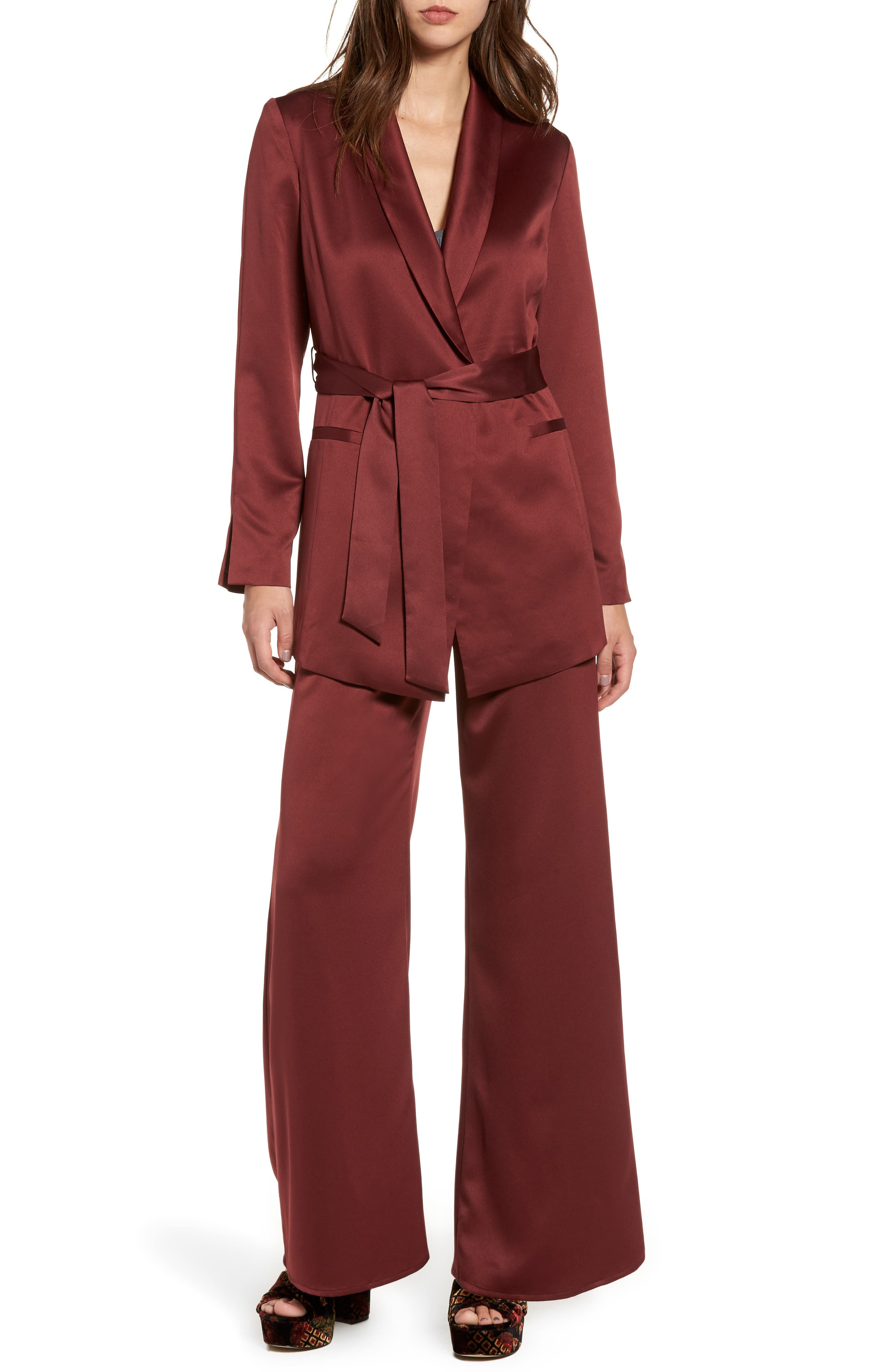 LEITH, Belted Satin Jacket, Alternate thumbnail 7, color, 601