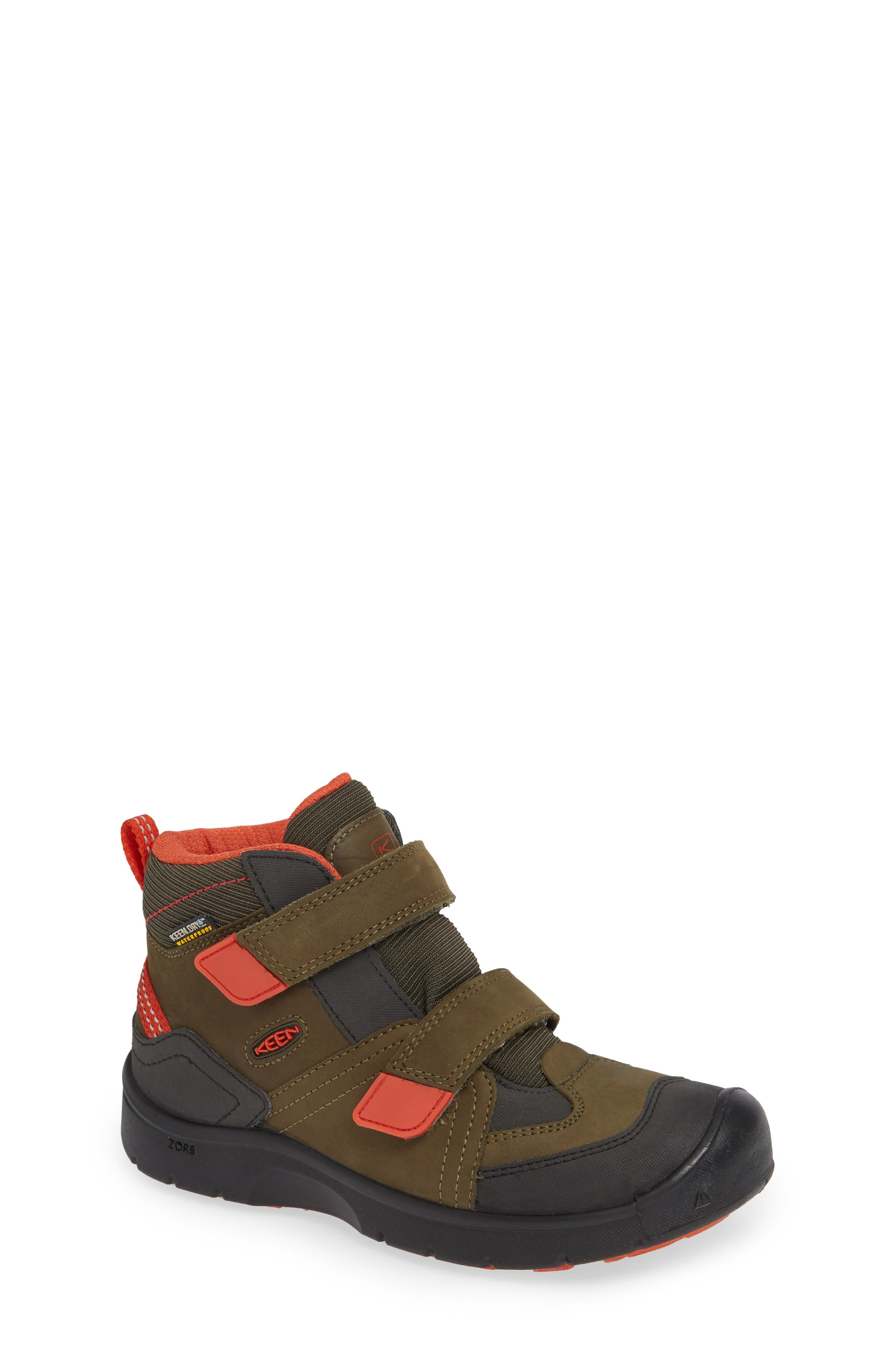 KEEN Hikeport Strap Waterproof Mid Boot, Main, color, MARTINI OLIVE/ PUMPKIN