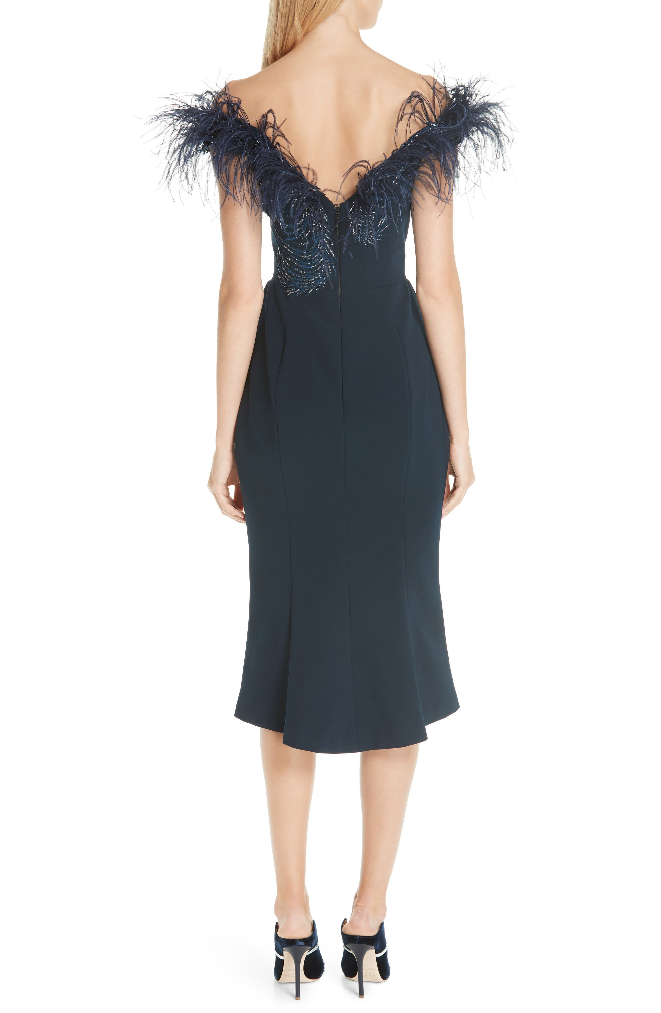MARCHESA, Off the Shoulder Feather Cocktail Dress, Alternate thumbnail 2, color, NAVY