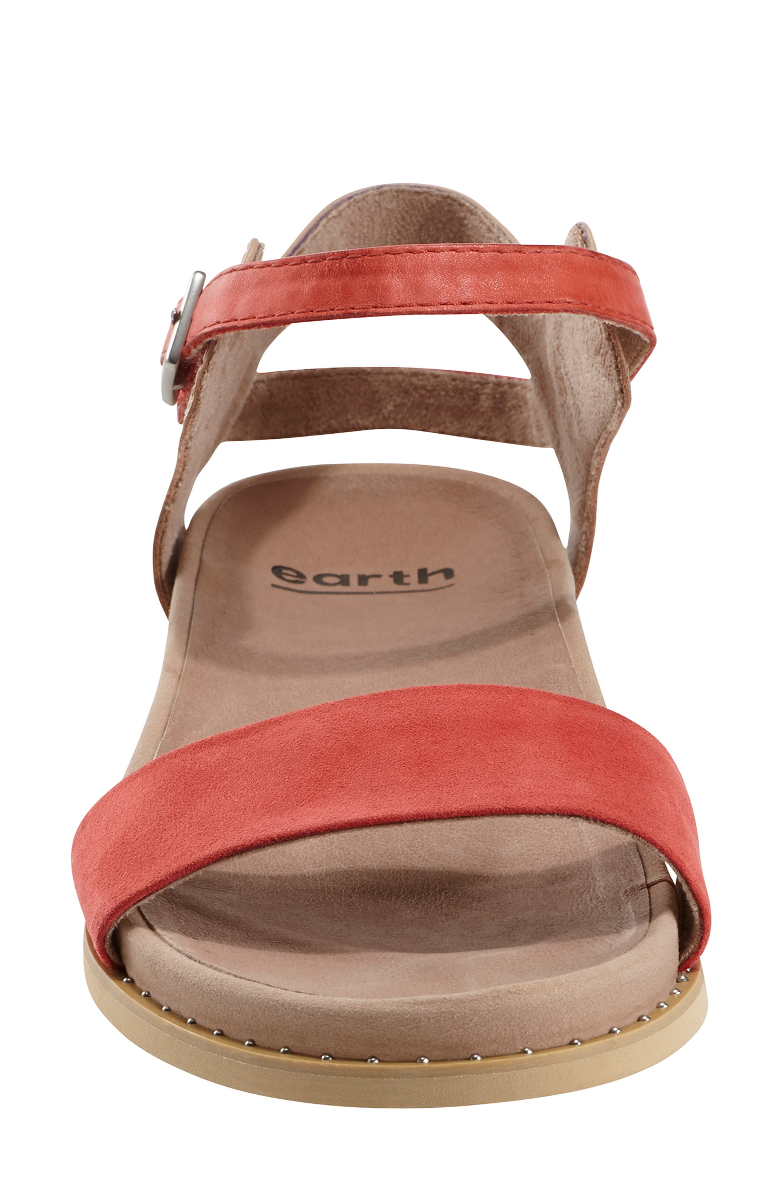 EARTH<SUP>®</SUP>, Cameo Sandal, Alternate thumbnail 4, color, BRIGHT CORAL SUEDE