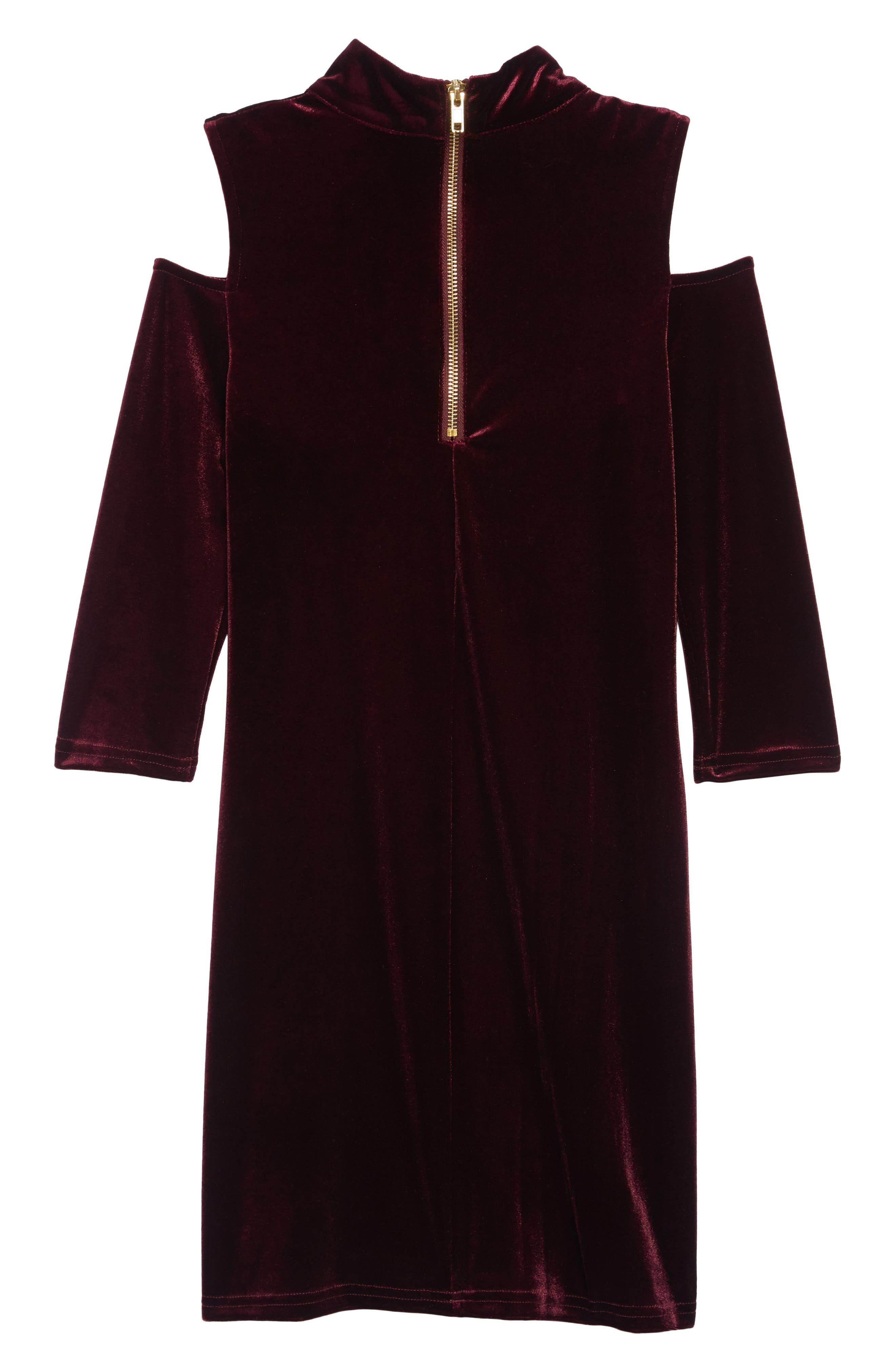 BLUSH BY US ANGELS, Cold Shoulder Velvet Dress, Alternate thumbnail 2, color, BERRY
