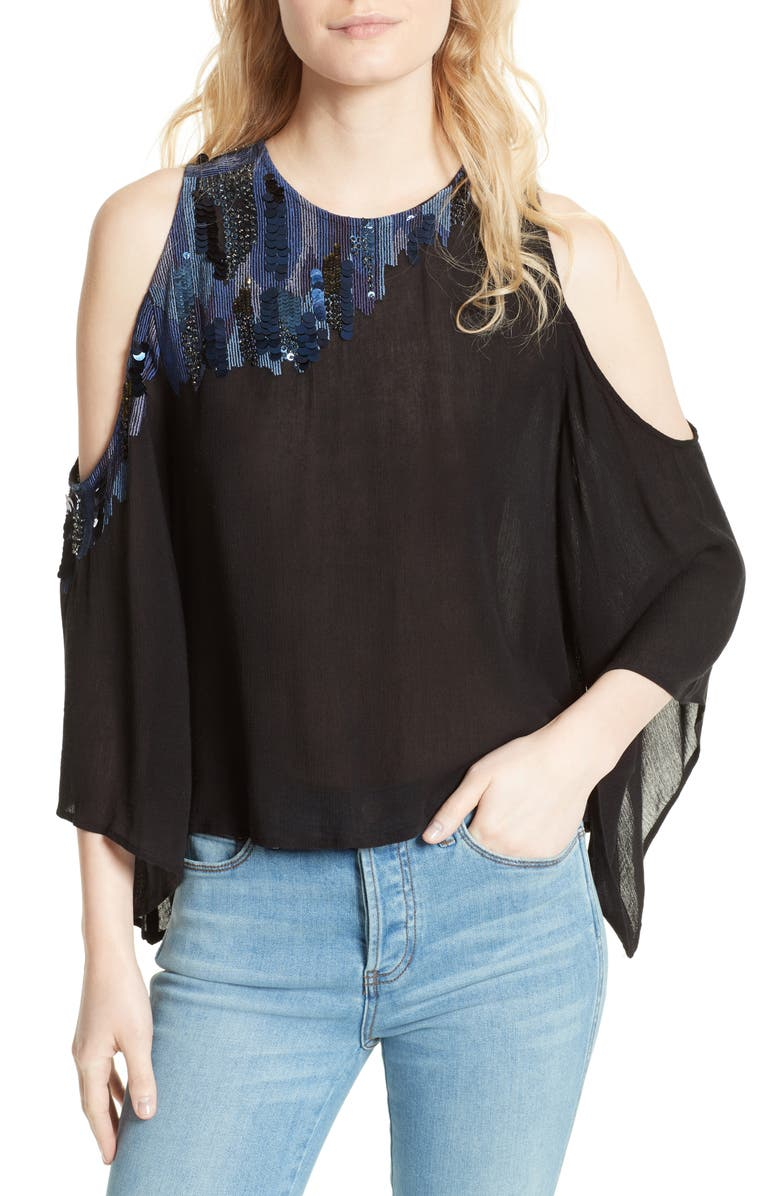 9893e6f471aba Free People All About You Embellished Cold Shoulder Top
