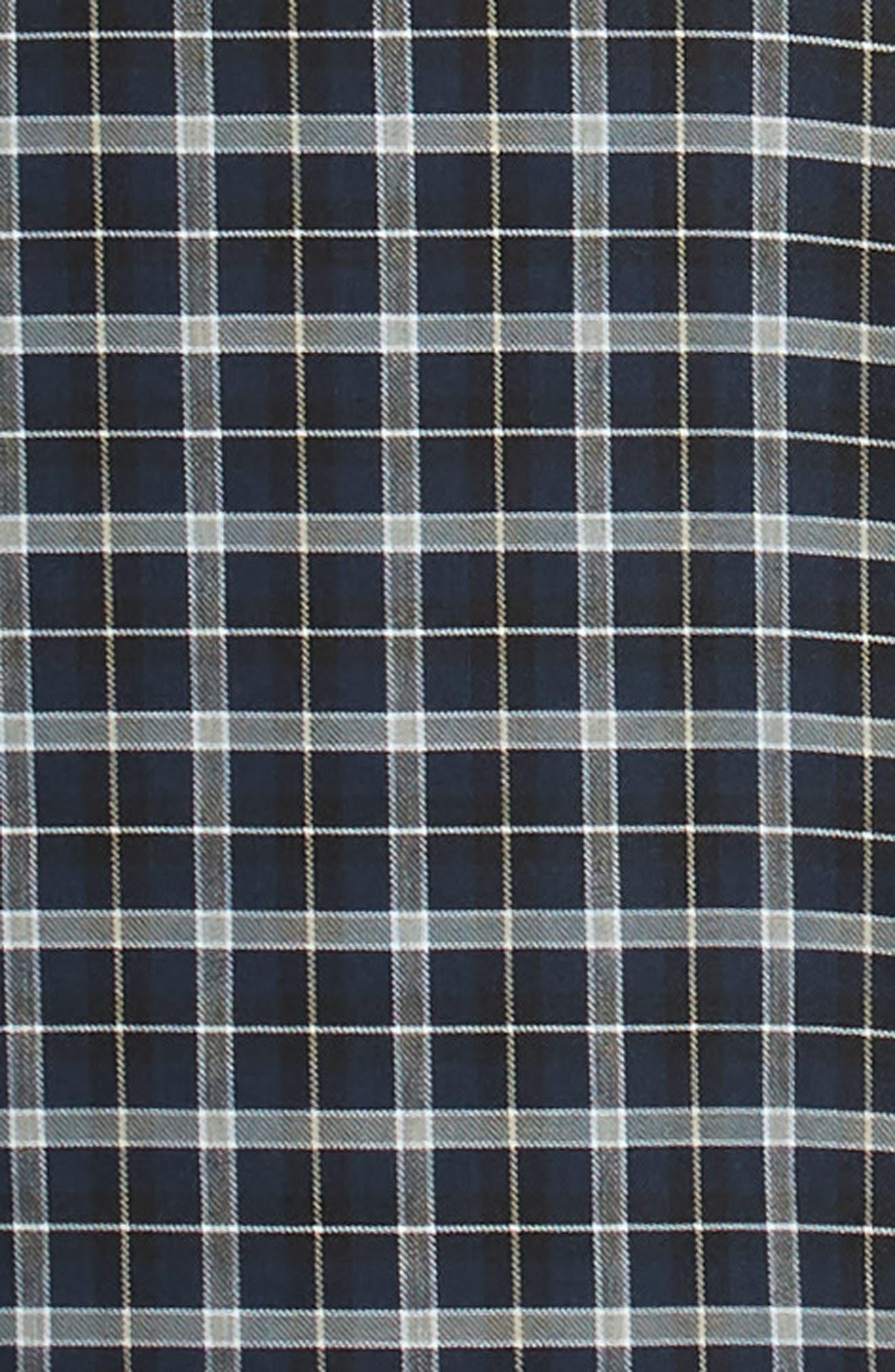 NORDSTROM MEN'S SHOP, Tech-Smart Slim Fit Check Sport Shirt, Alternate thumbnail 6, color, NAVY IRIS BLACK CHECK