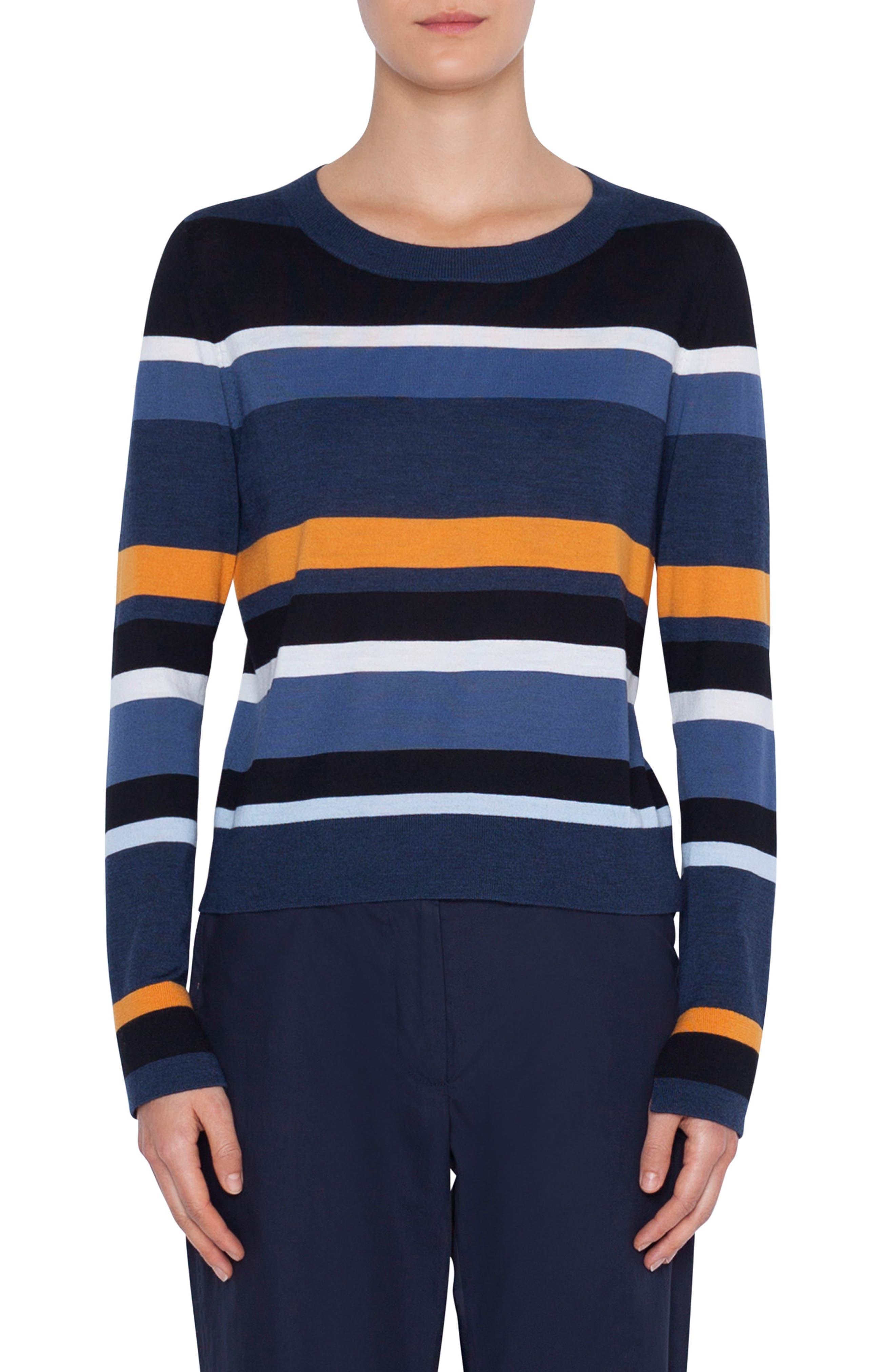 Akris Punto Memphis Glass Stripe Wool Sweater, Blue