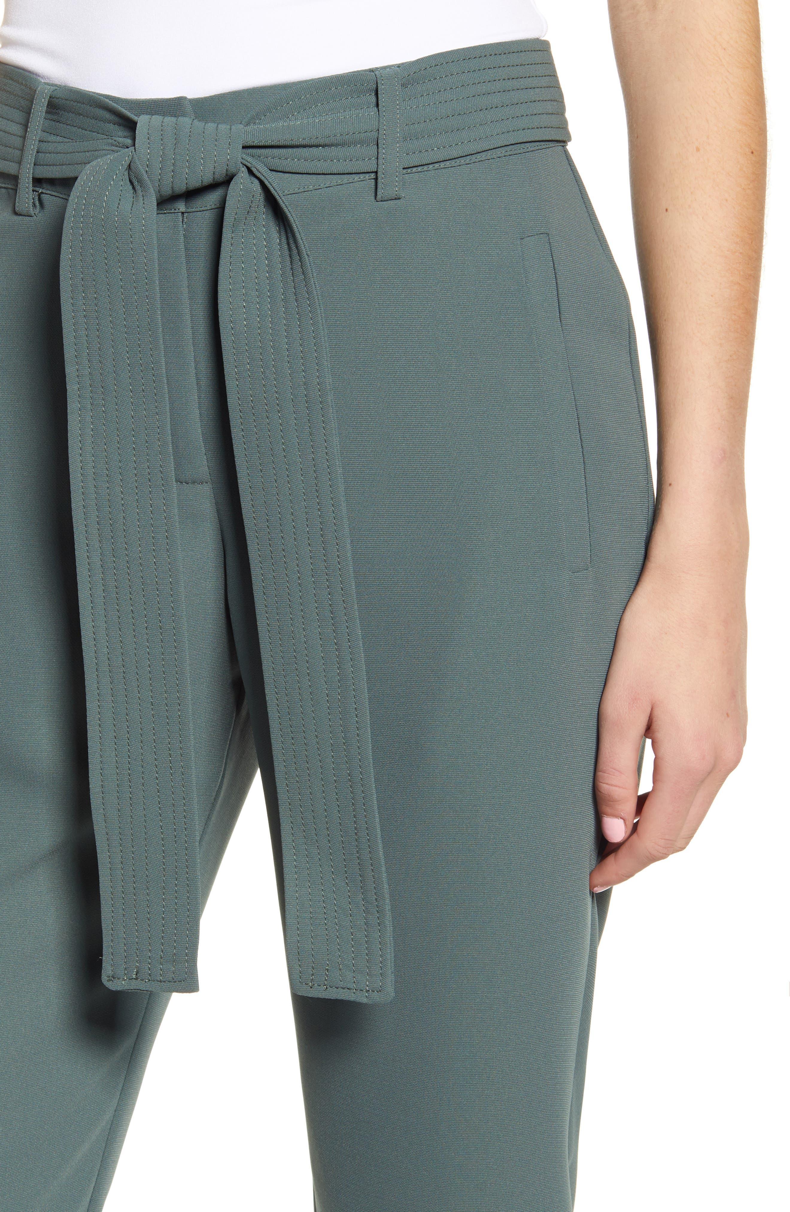CHELSEA28, Tie Waist Ankle Pants, Alternate thumbnail 5, color, GREY URBAN