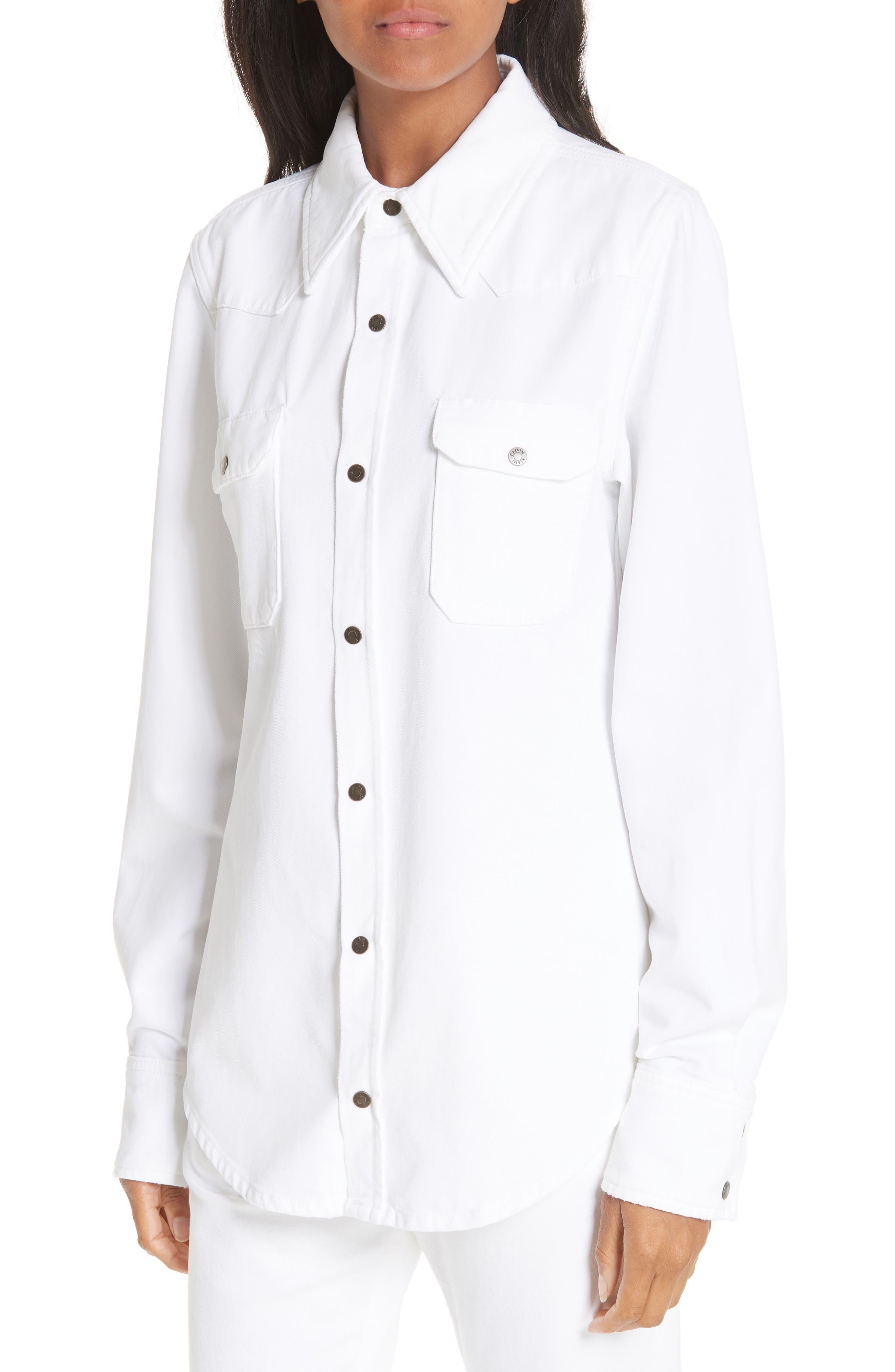 CALVIN KLEIN 205W39NYC, Denim Shirt, Alternate thumbnail 5, color, OPTIC WHITE