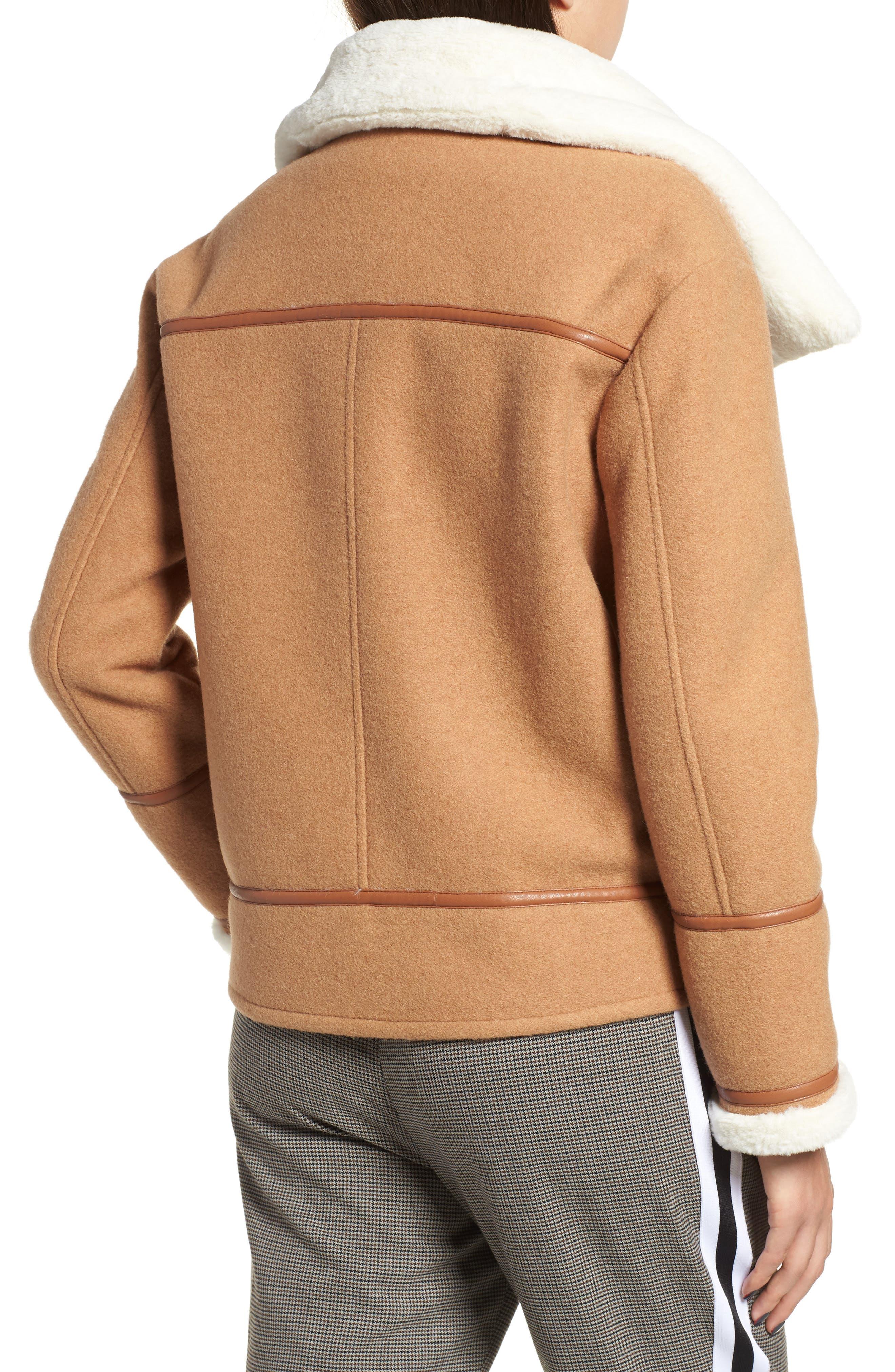 NVLT, Brushed Melton Wool Blend Jacket, Alternate thumbnail 2, color, CAMEL/ CREAM