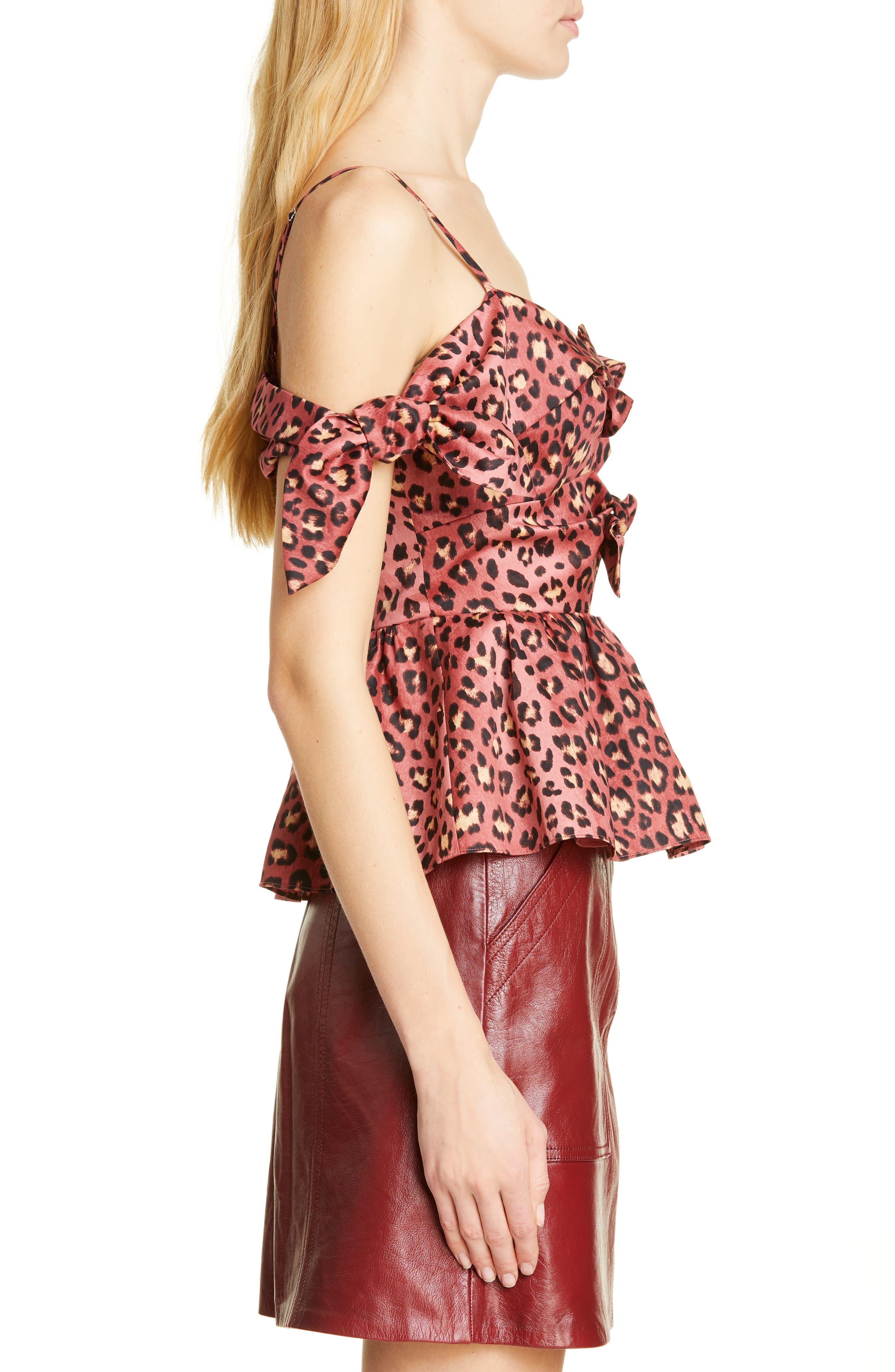 REBECCA TAYLOR, Bow Detail Leopard Print Cold Shoulder Cotton Blouse, Alternate thumbnail 3, color, HENNA