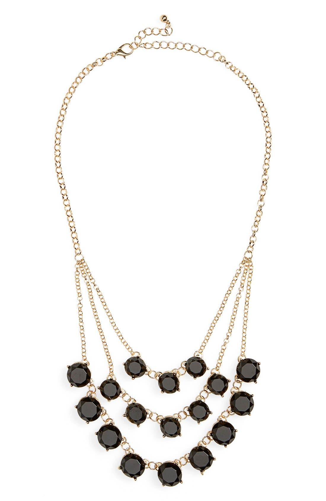 BP., Layered Round Stone Statement Necklace, Main thumbnail 1, color, 001