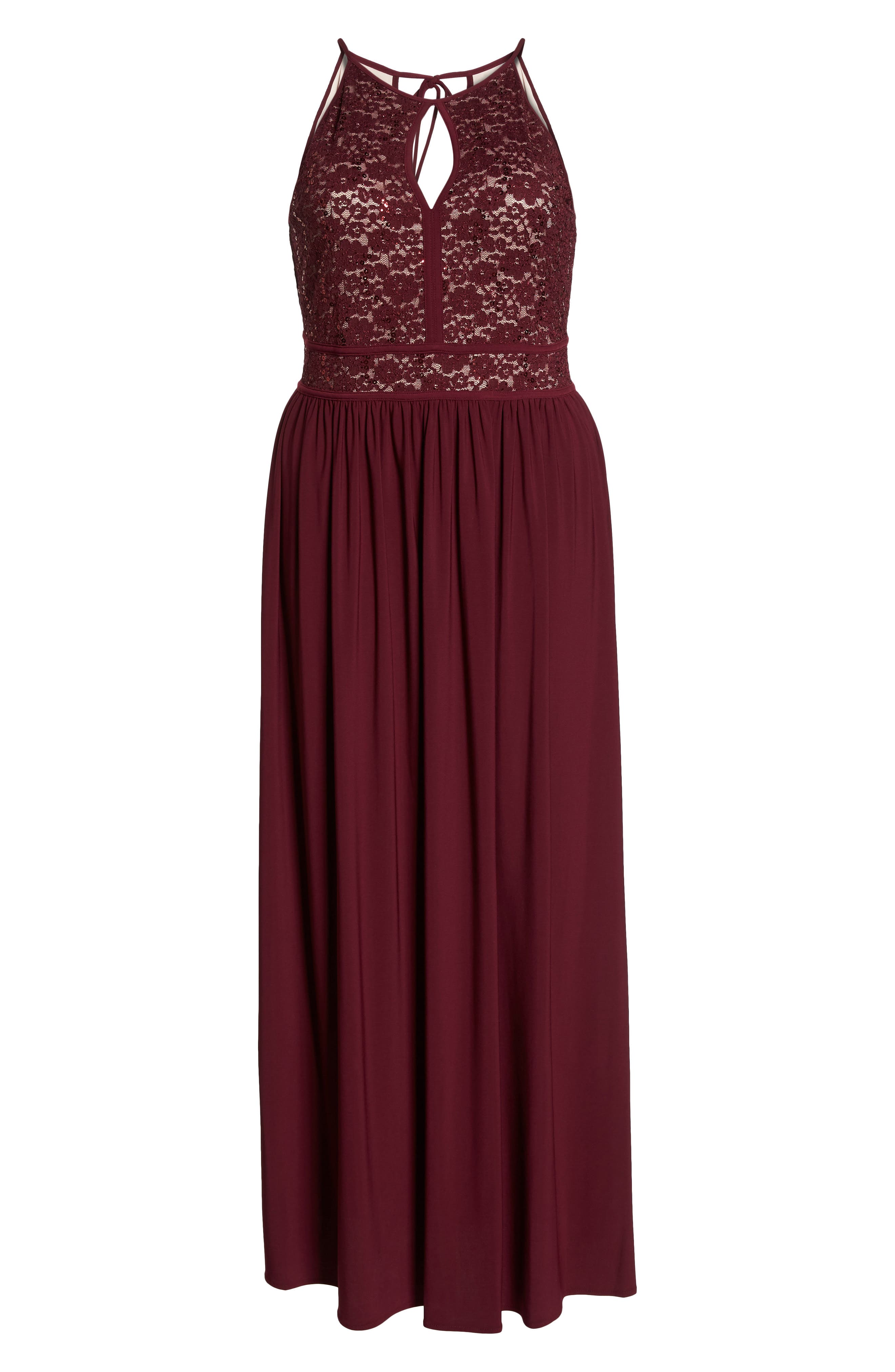 MORGAN & CO., Lace Pleated Gown, Alternate thumbnail 6, color, MERLOT