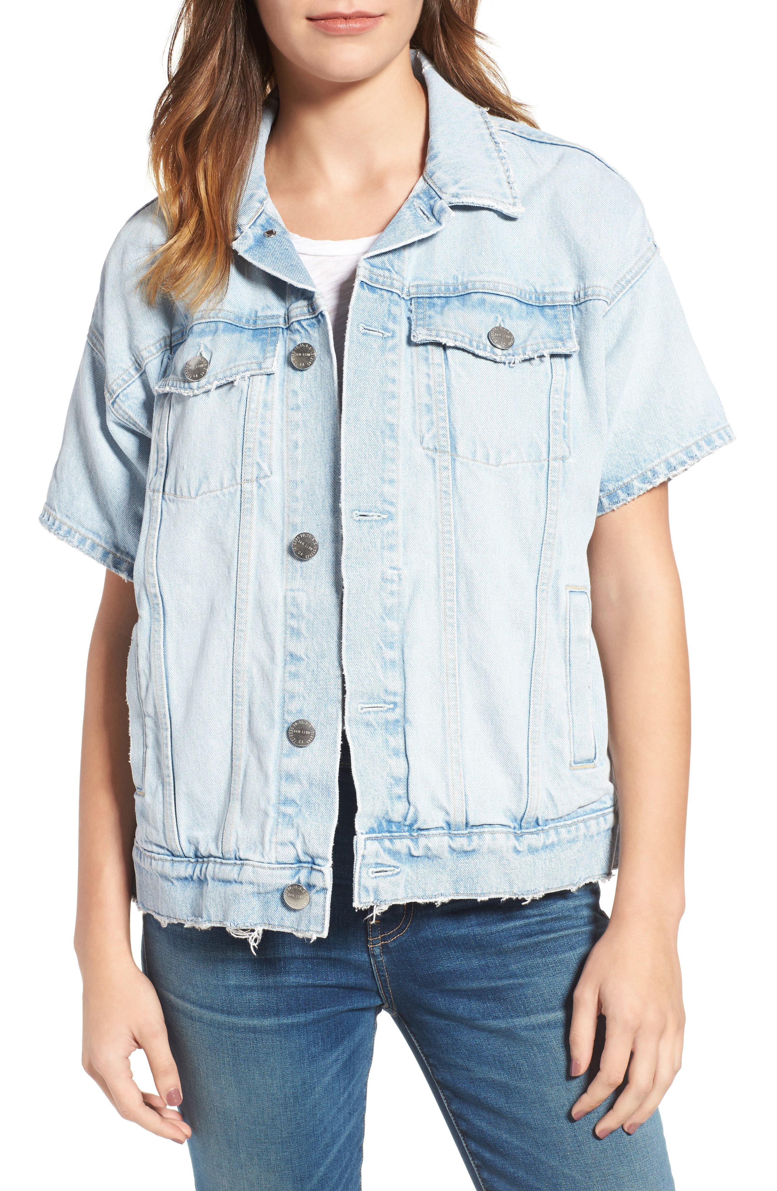 CURRENT/ELLIOTT Current/Elliot The Rolled Sleeve Trucker Denim Jacket, Main, color, 472