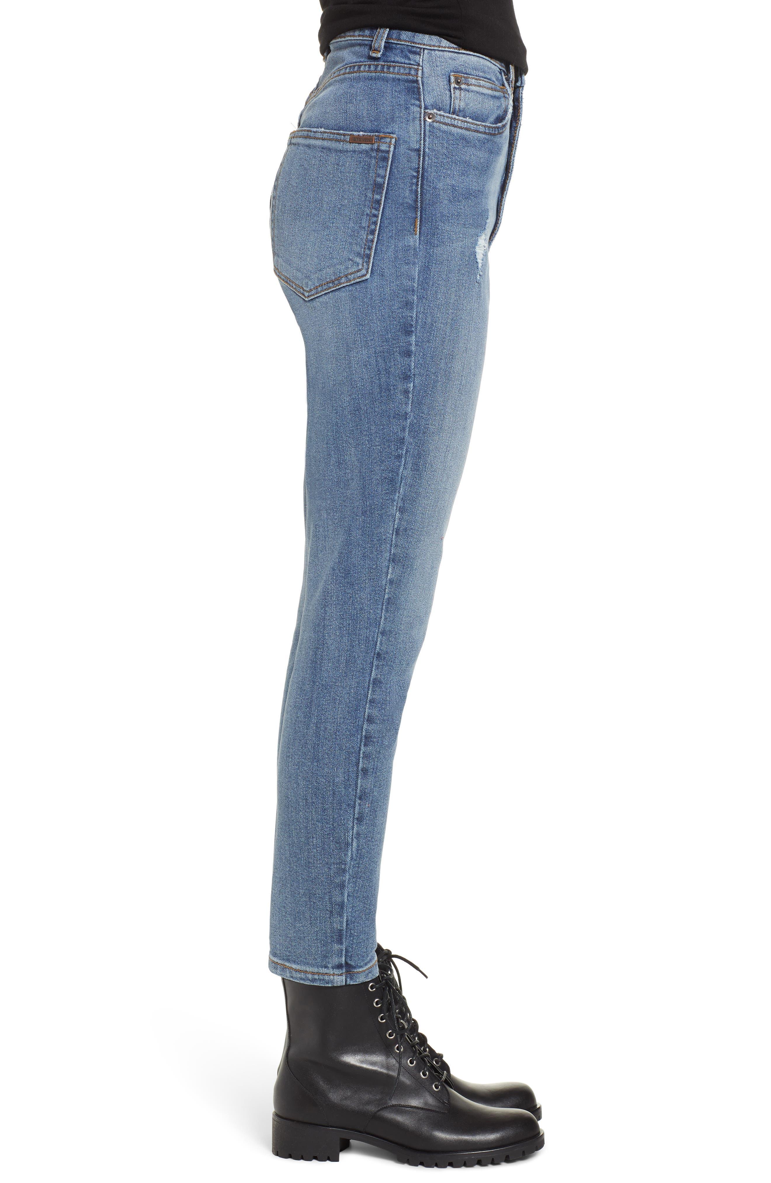 STS BLUE, Sophia High Waist Mom Jeans, Alternate thumbnail 4, color, CONEFLOWER MED WASH