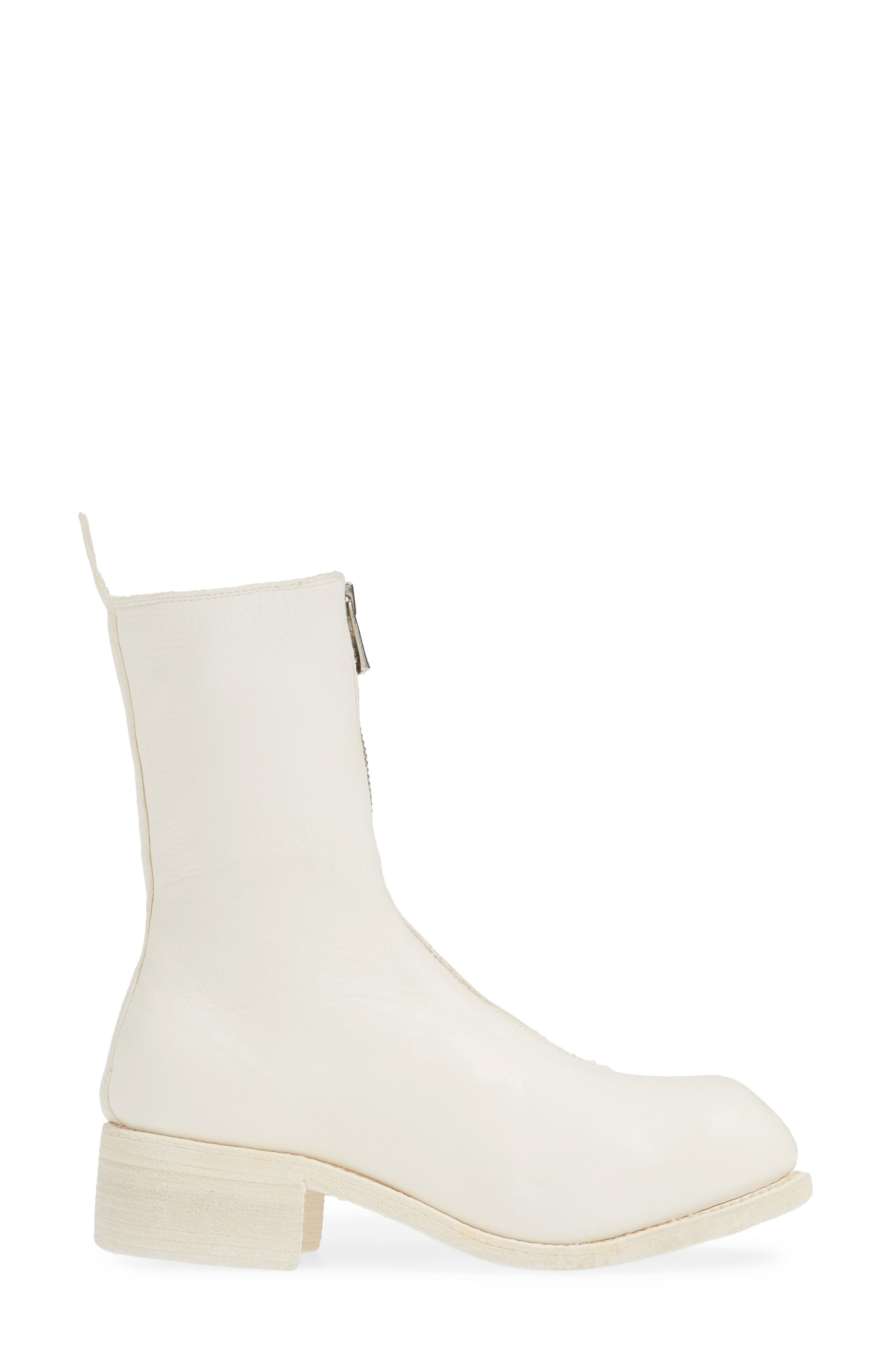 GUIDI, Front Zip Boot, Alternate thumbnail 3, color, WHITE