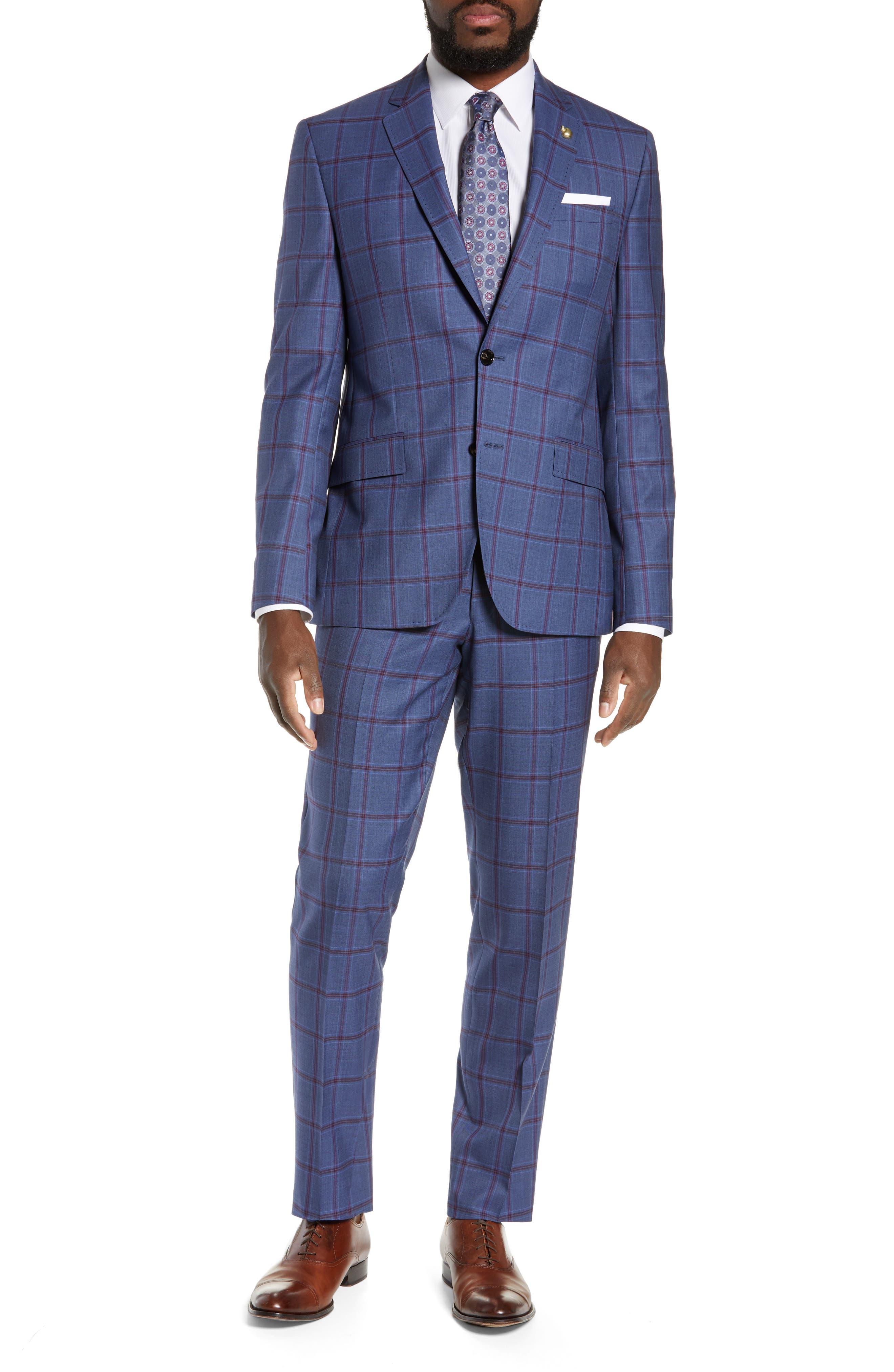 TED BAKER LONDON, Jay Trim Fit Windowpane Suit, Main thumbnail 1, color, BLUE