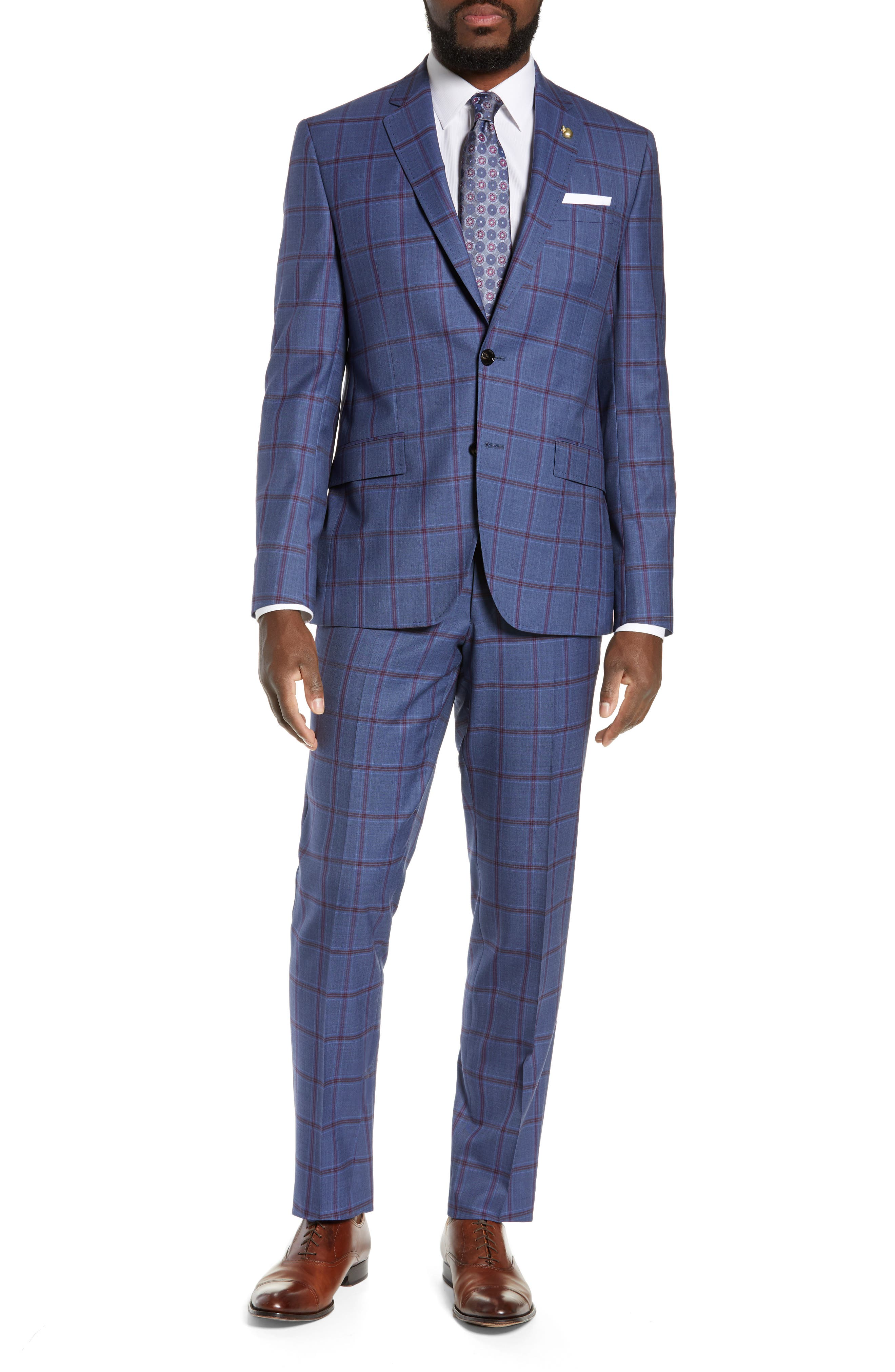 TED BAKER LONDON Jay Trim Fit Windowpane Suit, Main, color, BLUE