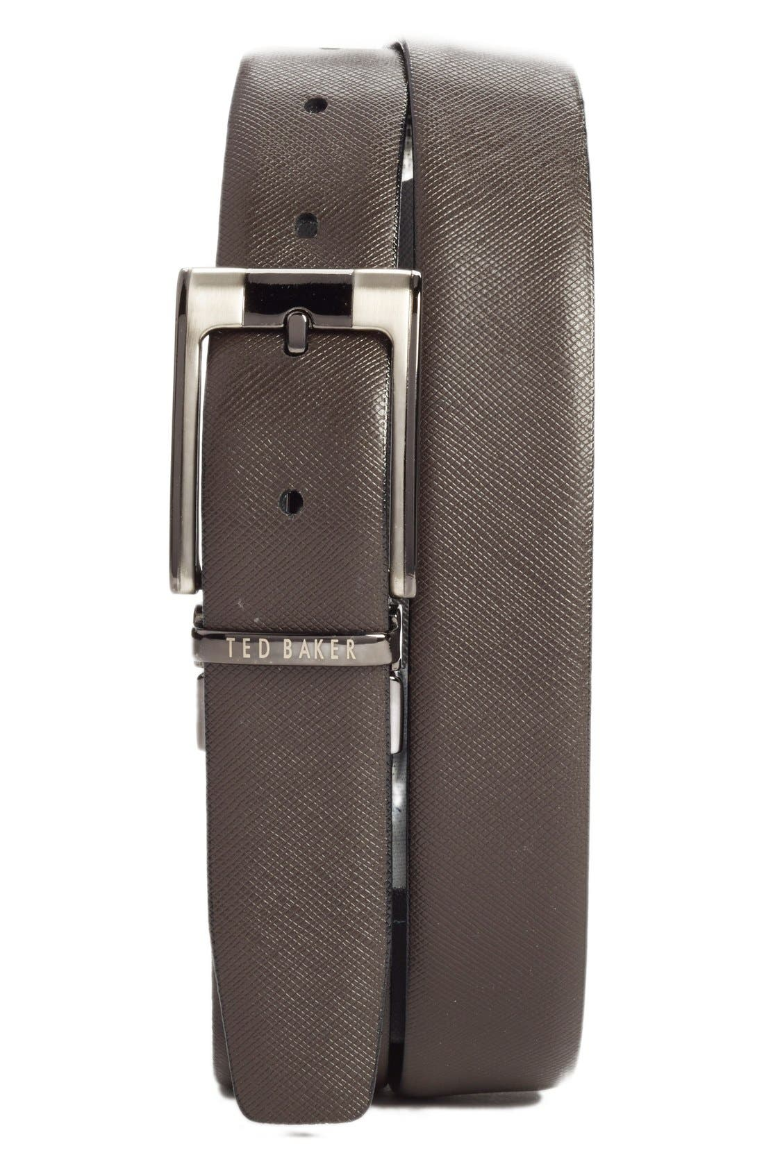 TED BAKER LONDON, Reversible Leather Belt, Alternate thumbnail 2, color, BLACK/ BROWN