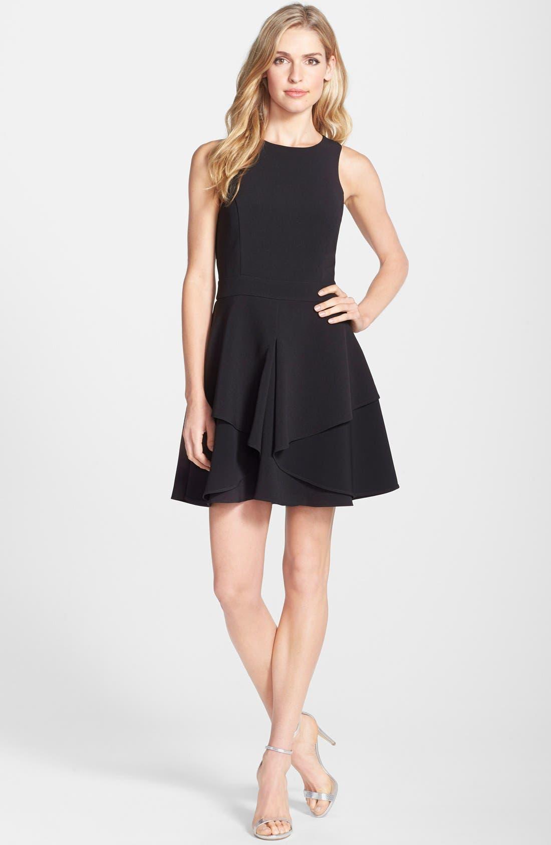 ADELYN RAE, AdelynRae GabardineFit & Flare Dress, Alternate thumbnail 6, color, 001