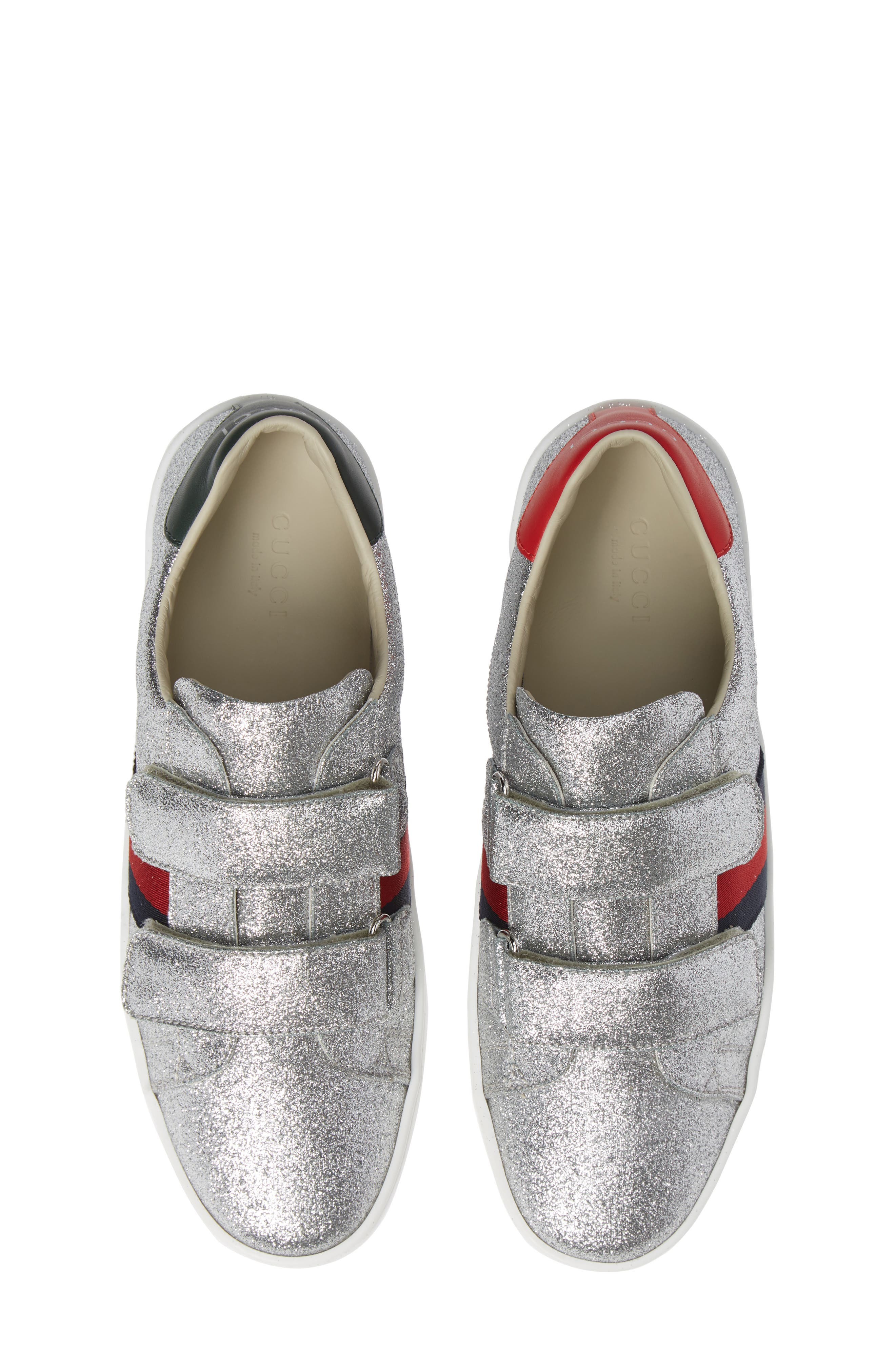 GUCCI New Ace Sneaker, Main, color, SILVER GLITTER