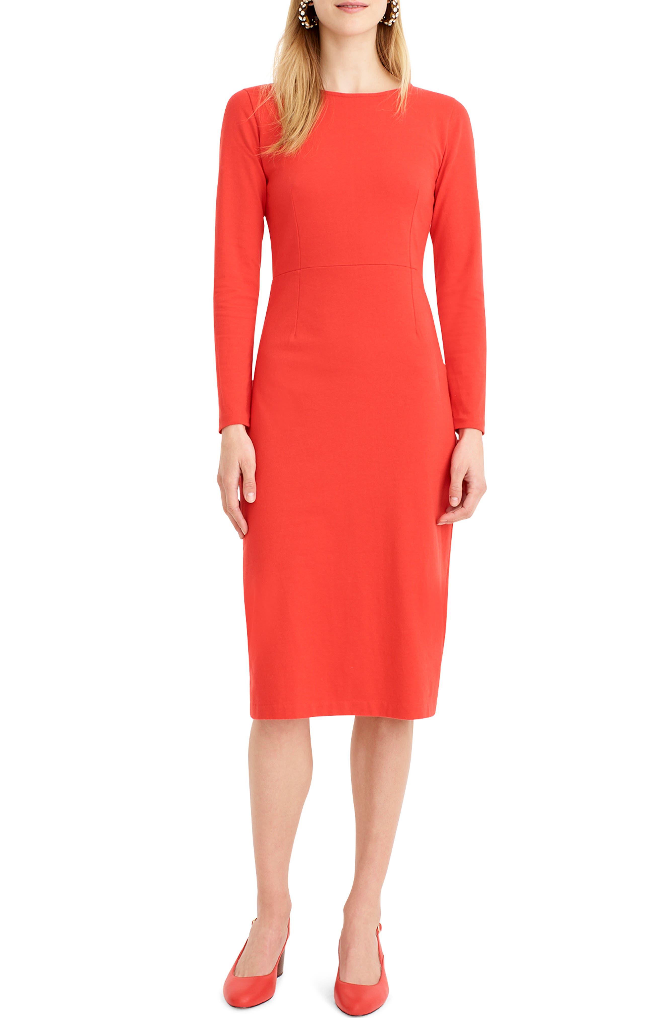 J.CREW, Knit Sheath Dress, Alternate thumbnail 7, color, BRIGHT CERISE