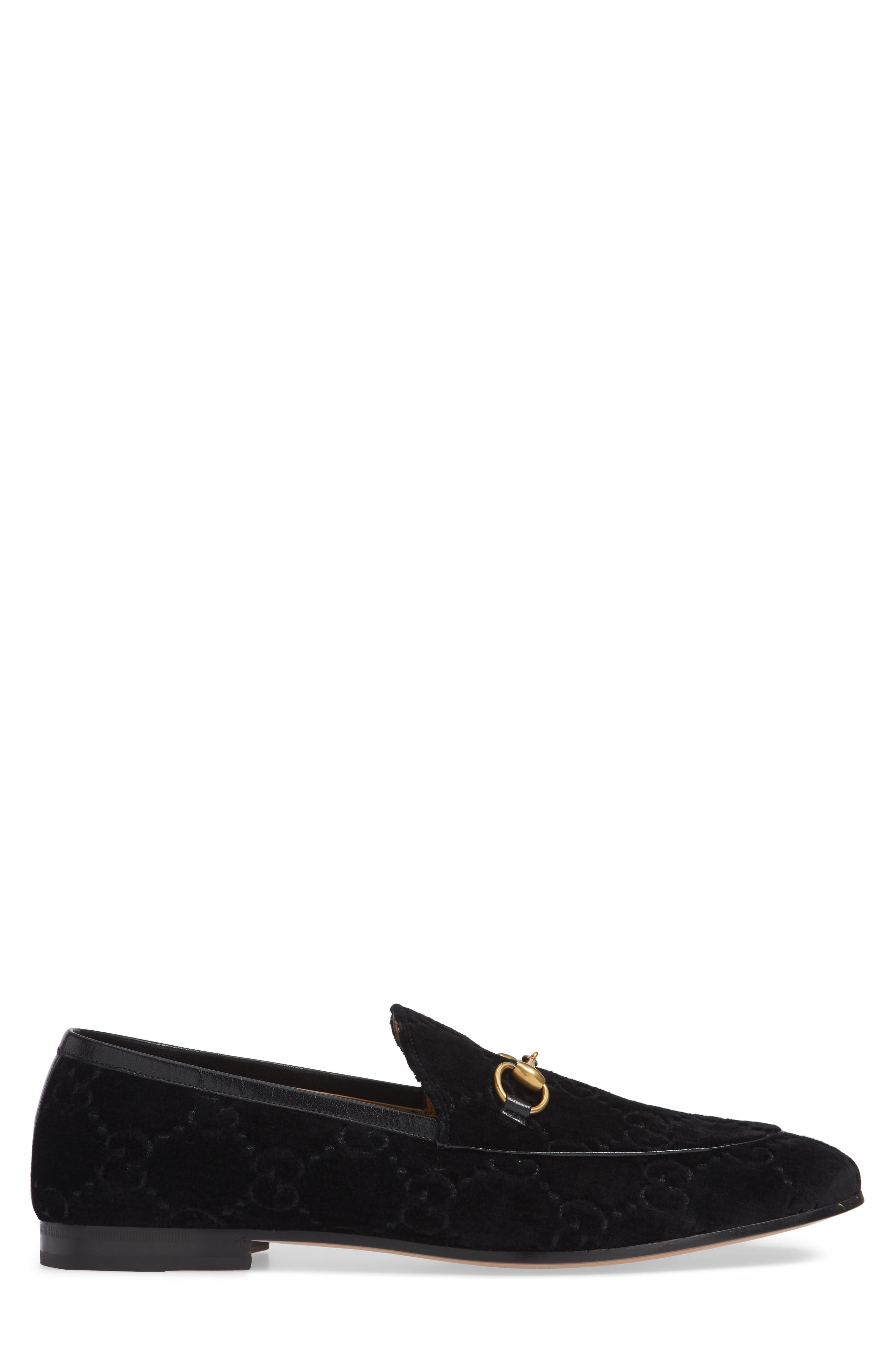 GUCCI, Jordaan GG Velvet Loafer, Alternate thumbnail 3, color, NERO/ NERO