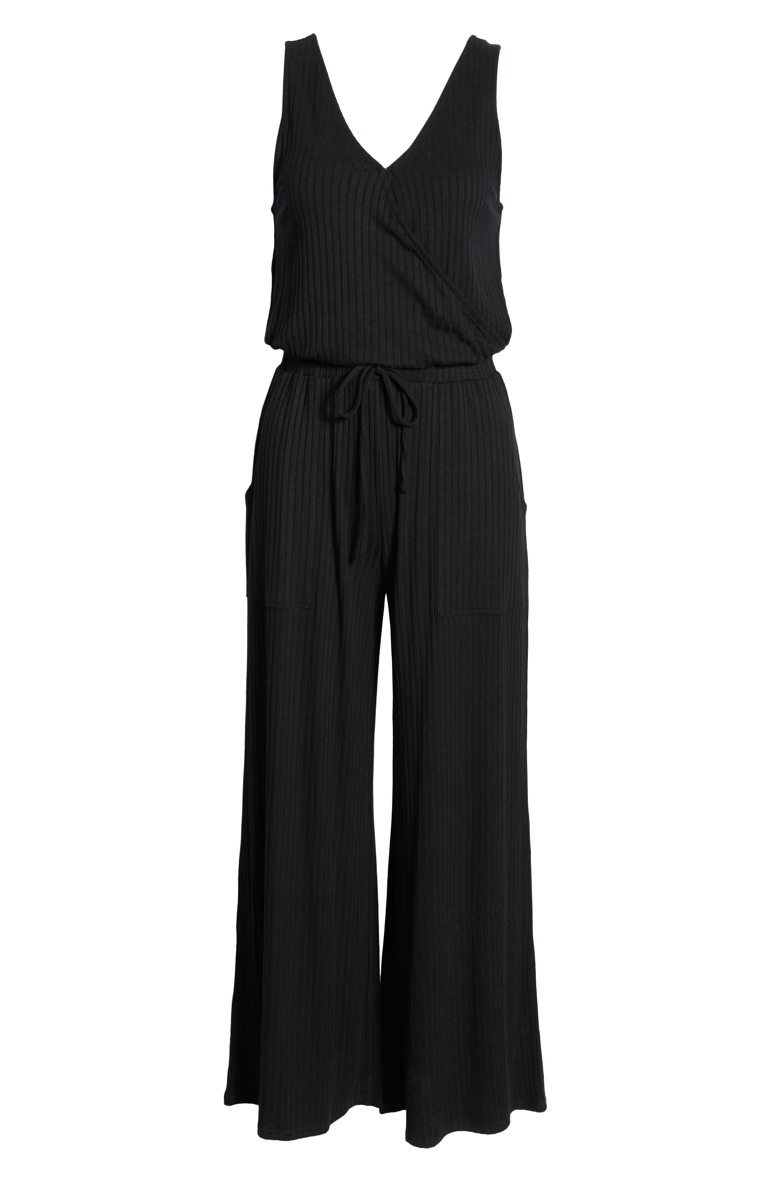 BP., Wide Leg Rib Jumpsuit, Alternate thumbnail 8, color, BLACK