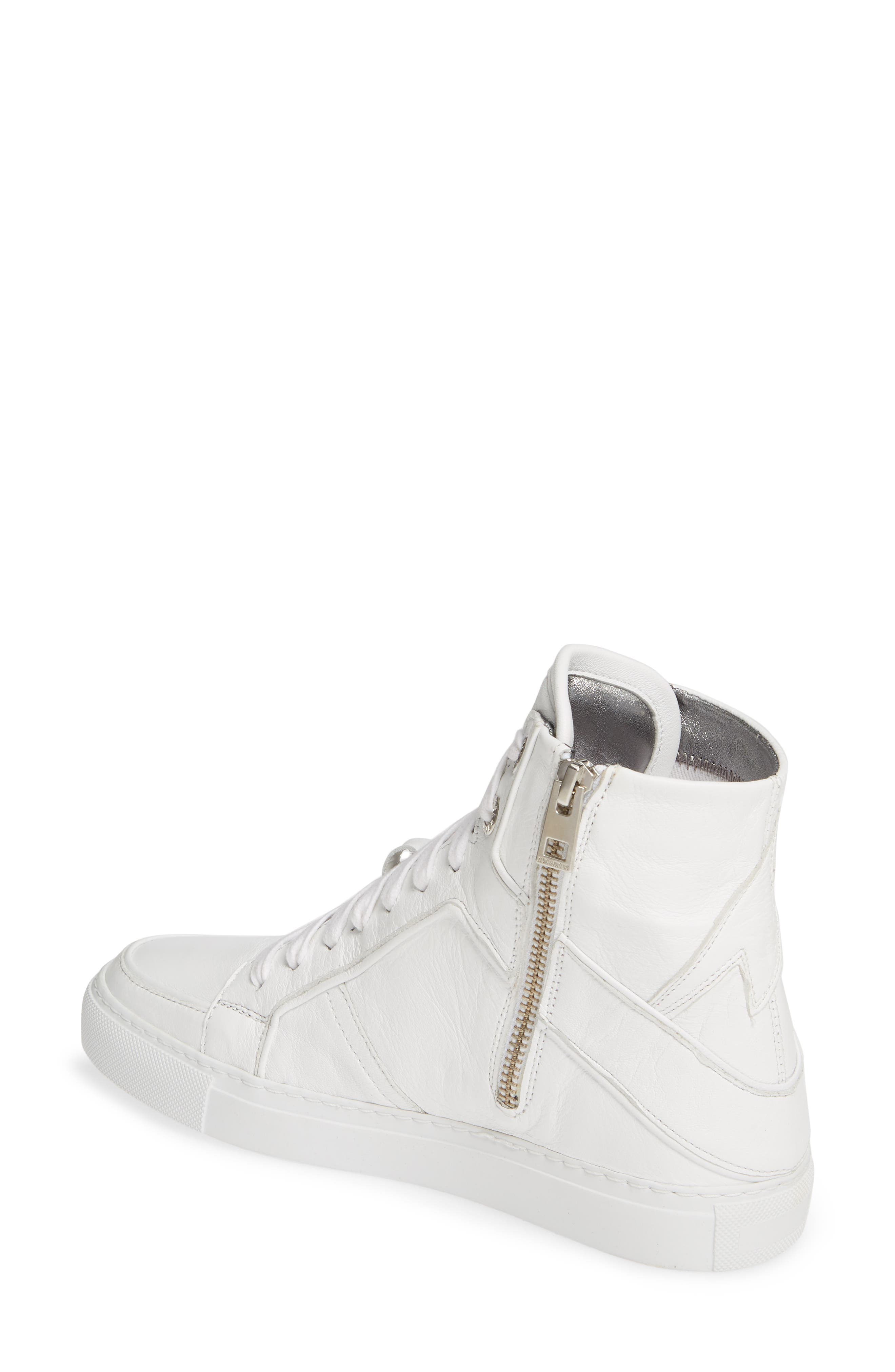 ZADIG & VOLTAIRE, Flash High Top Sneaker, Alternate thumbnail 2, color, BLANC
