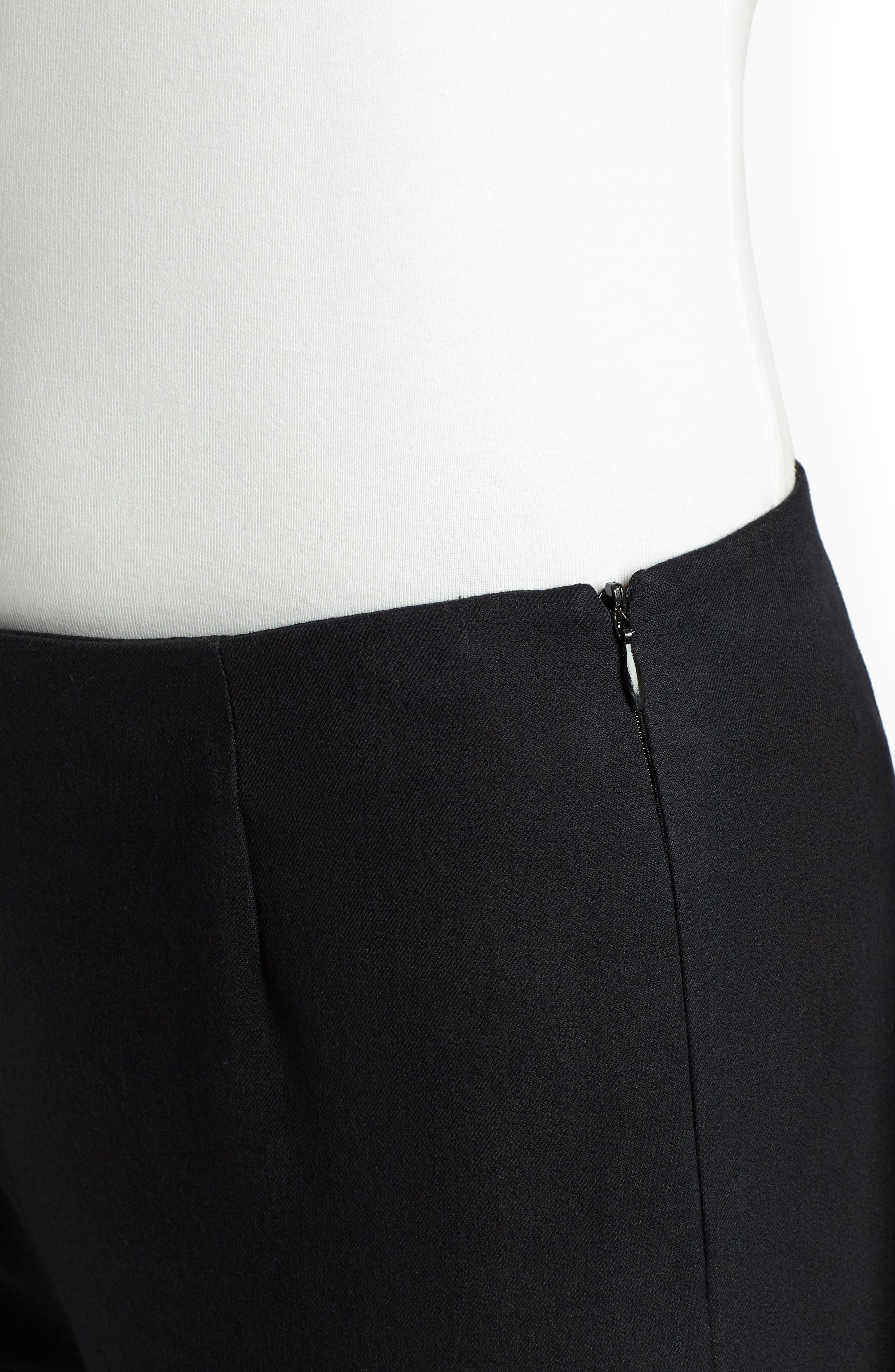 LAFAYETTE 148 NEW YORK, Lexington Stretch Cotton Crop Pants, Alternate thumbnail 4, color, BLACK
