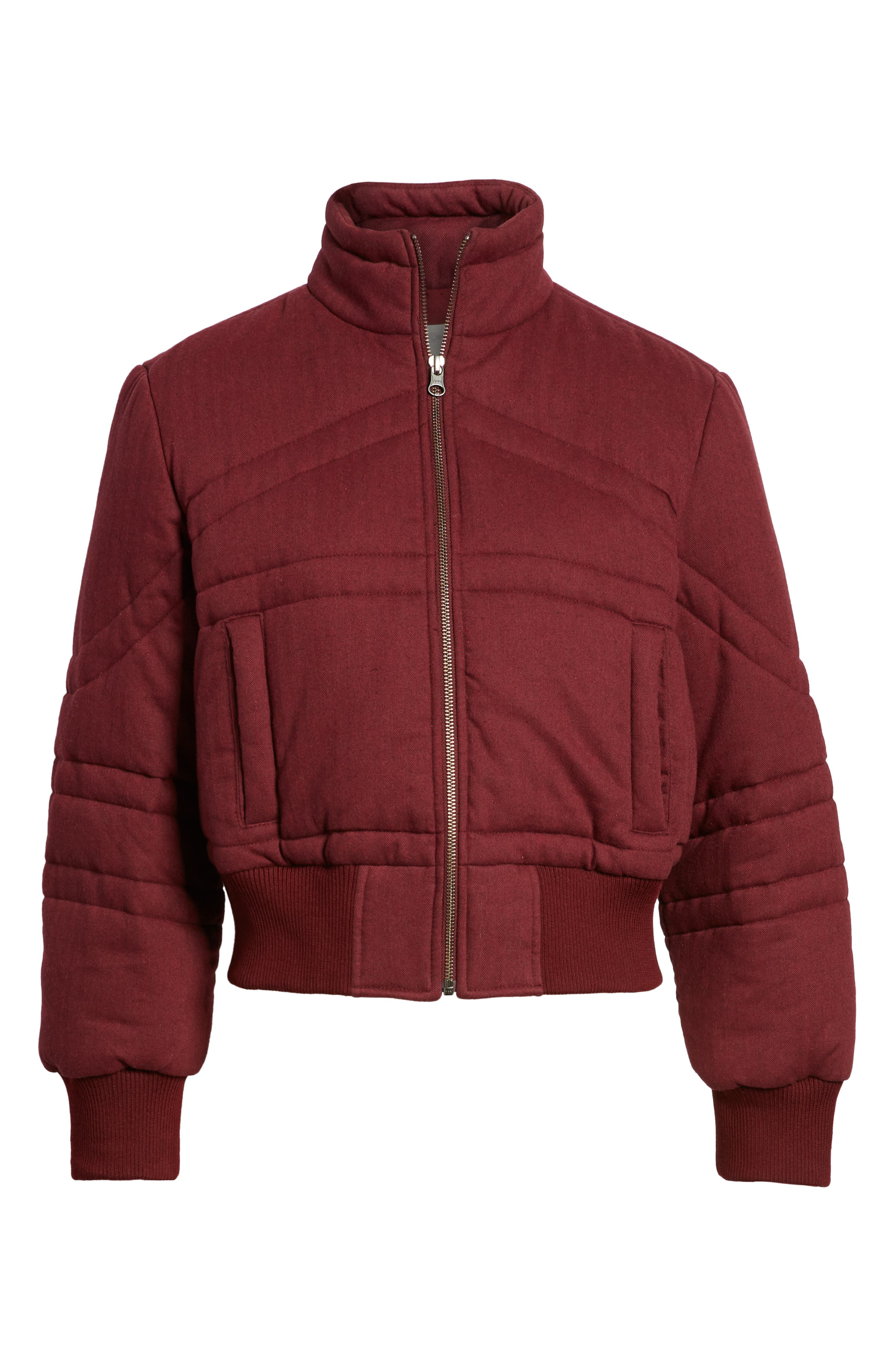 TREASURE & BOND, Flannel Crop Puffer Jacket, Alternate thumbnail 5, color, RED TANNIN HEATHER