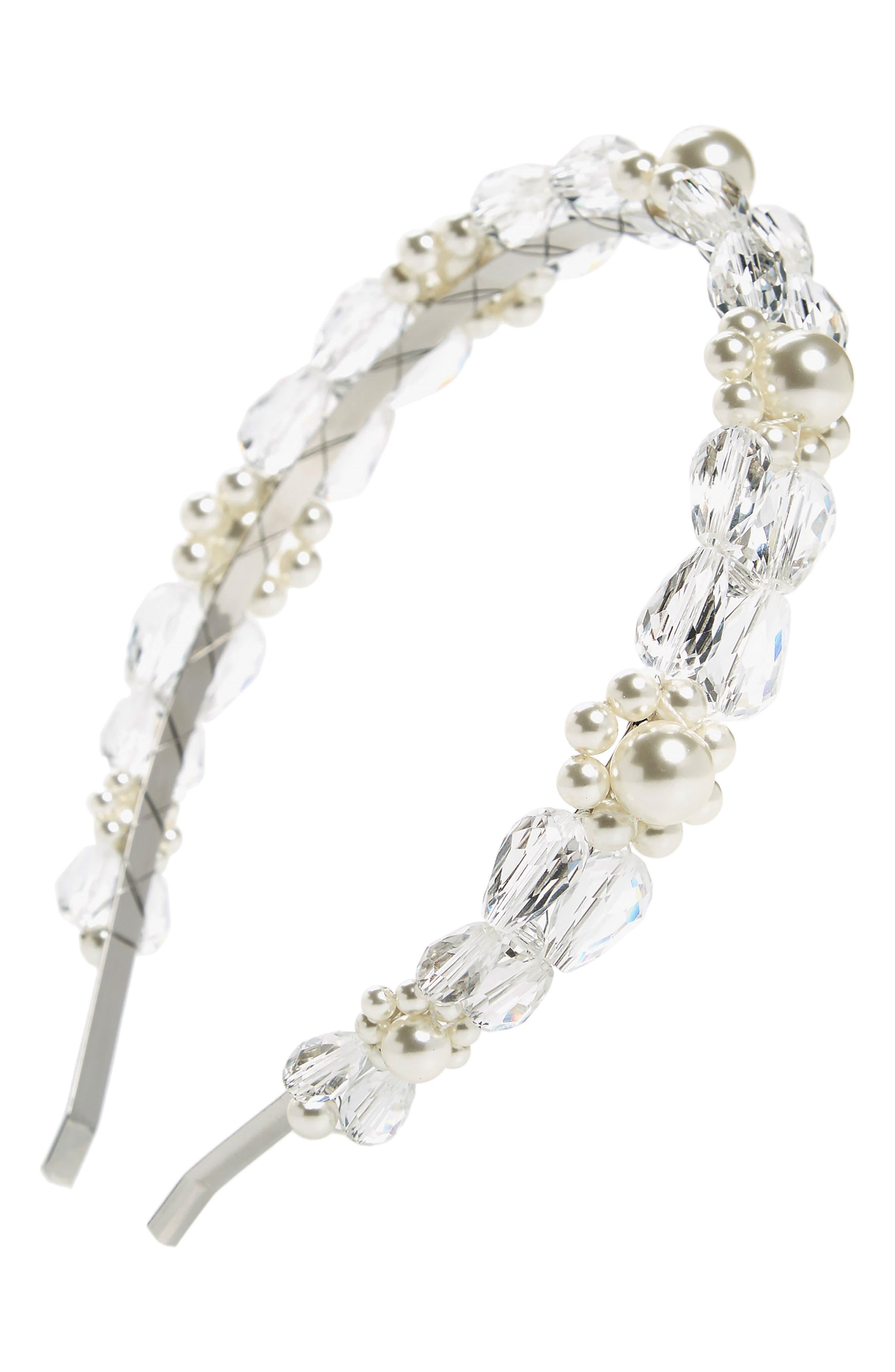 SIMONE ROCHA, Daisy Imitation Pearl & Crystal Headband, Main thumbnail 1, color, CLEAR/ PEARL