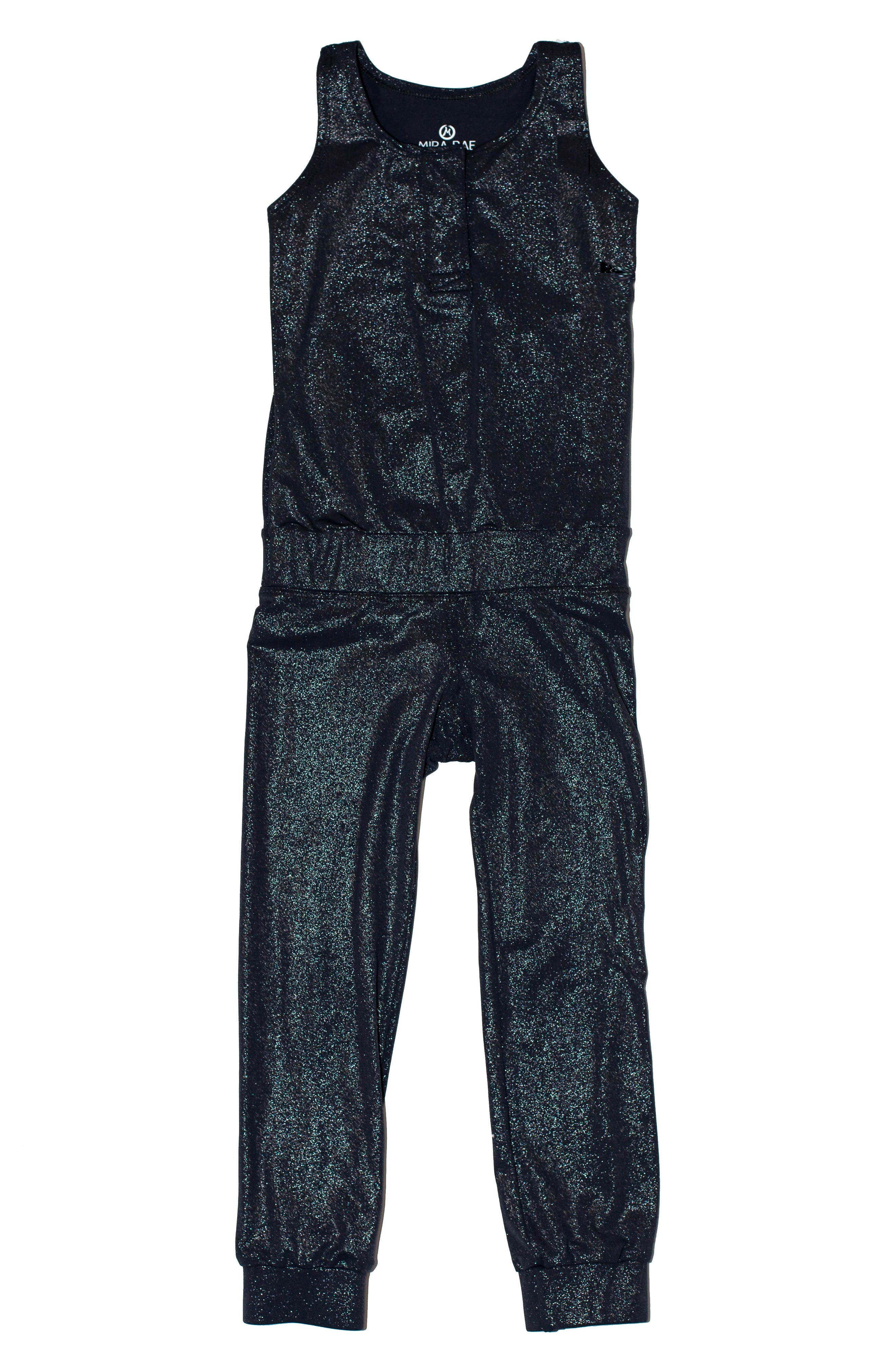 MIRA RAE, Riya Metallic Jumpsuit, Main thumbnail 1, color, MOONLESS NIGHT