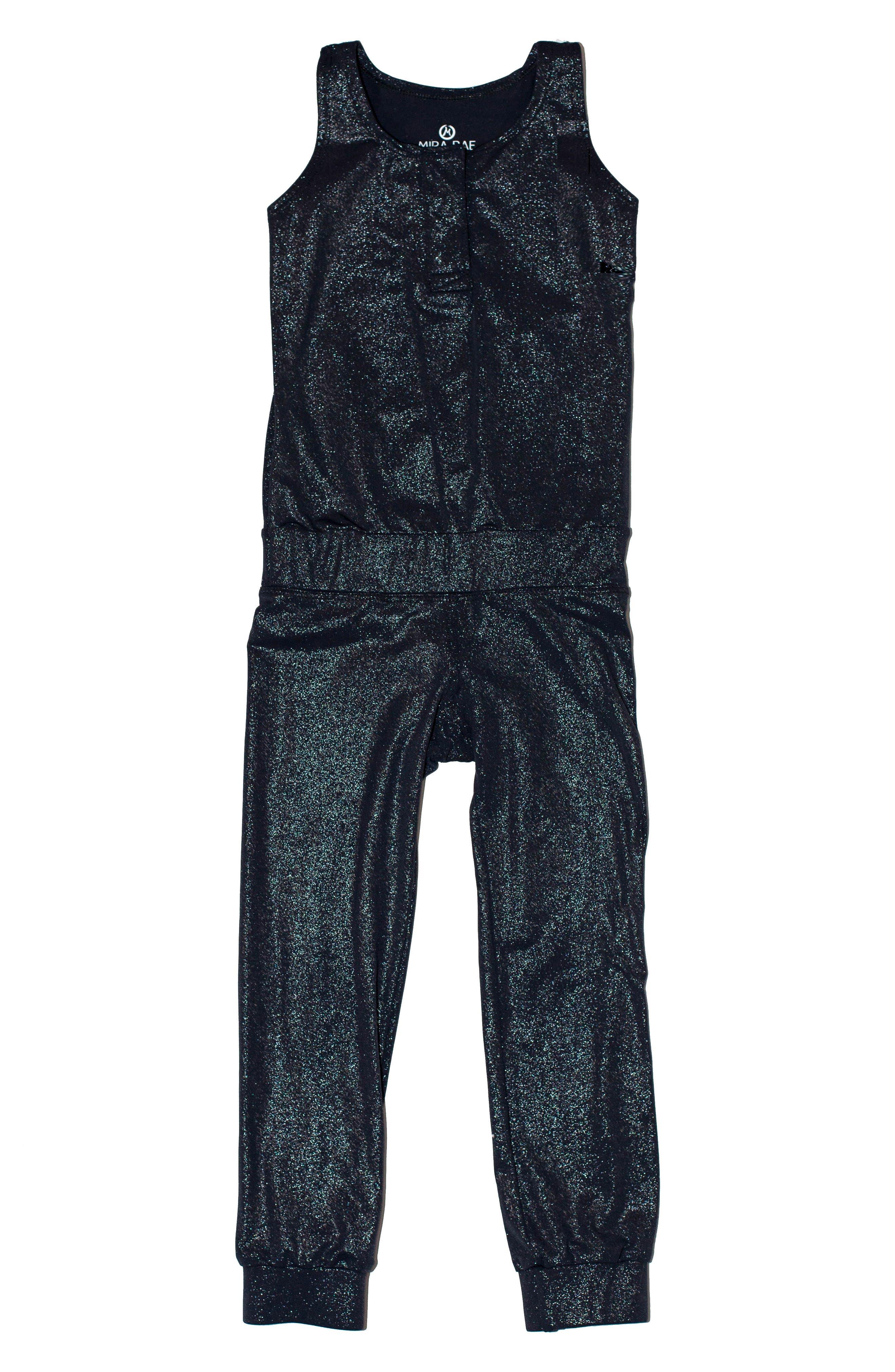 MIRA RAE Riya Metallic Jumpsuit, Main, color, MOONLESS NIGHT