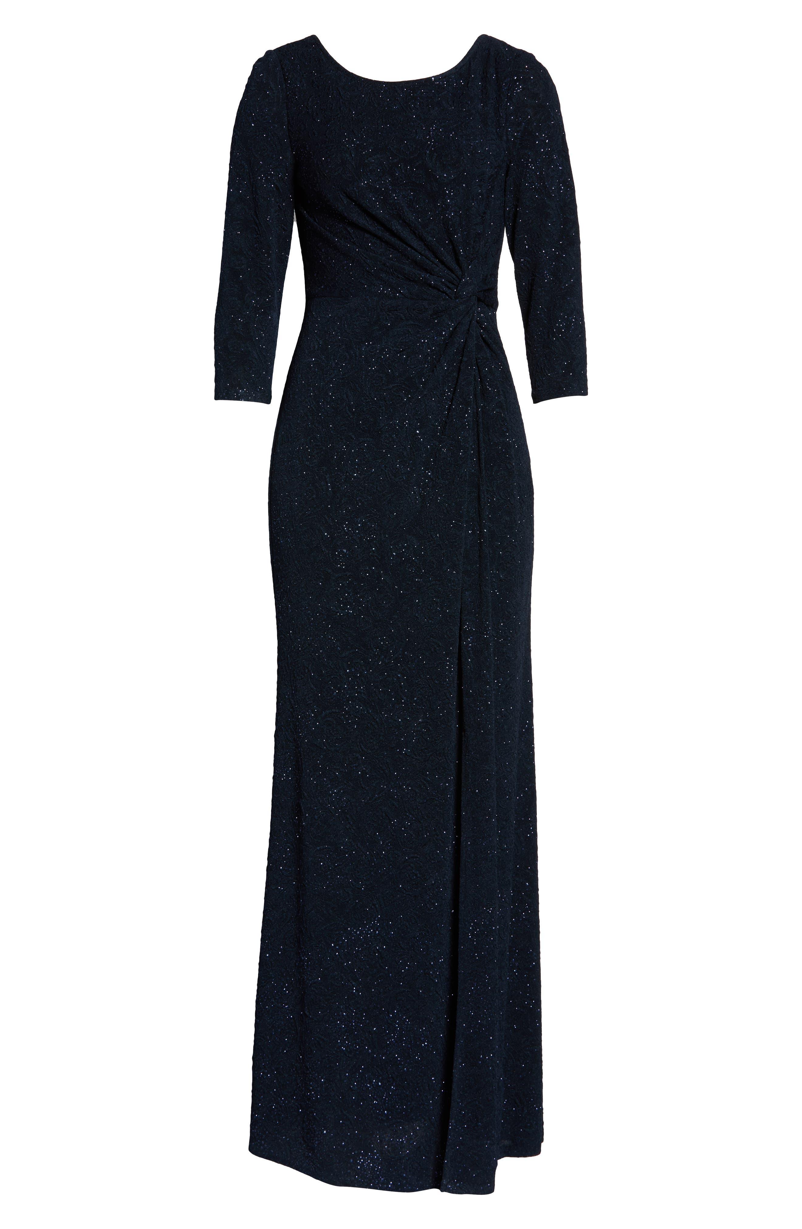 ALEX EVENINGS, Knot Front Sequin Jacquard Evening Dress, Alternate thumbnail 8, color, NAVY