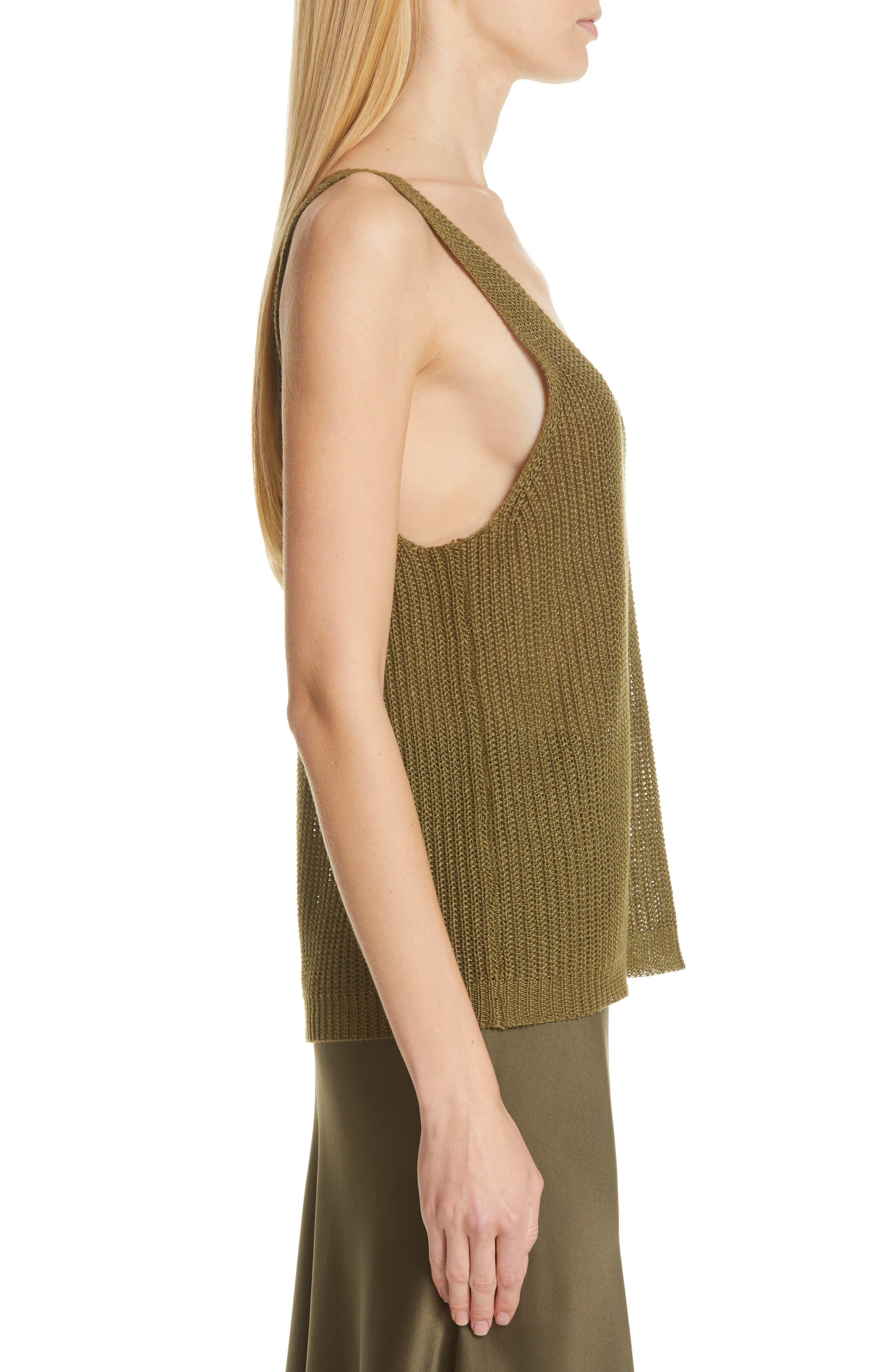 NILI LOTAN, Nala Linen Sweater Tank, Alternate thumbnail 3, color, OLIVE