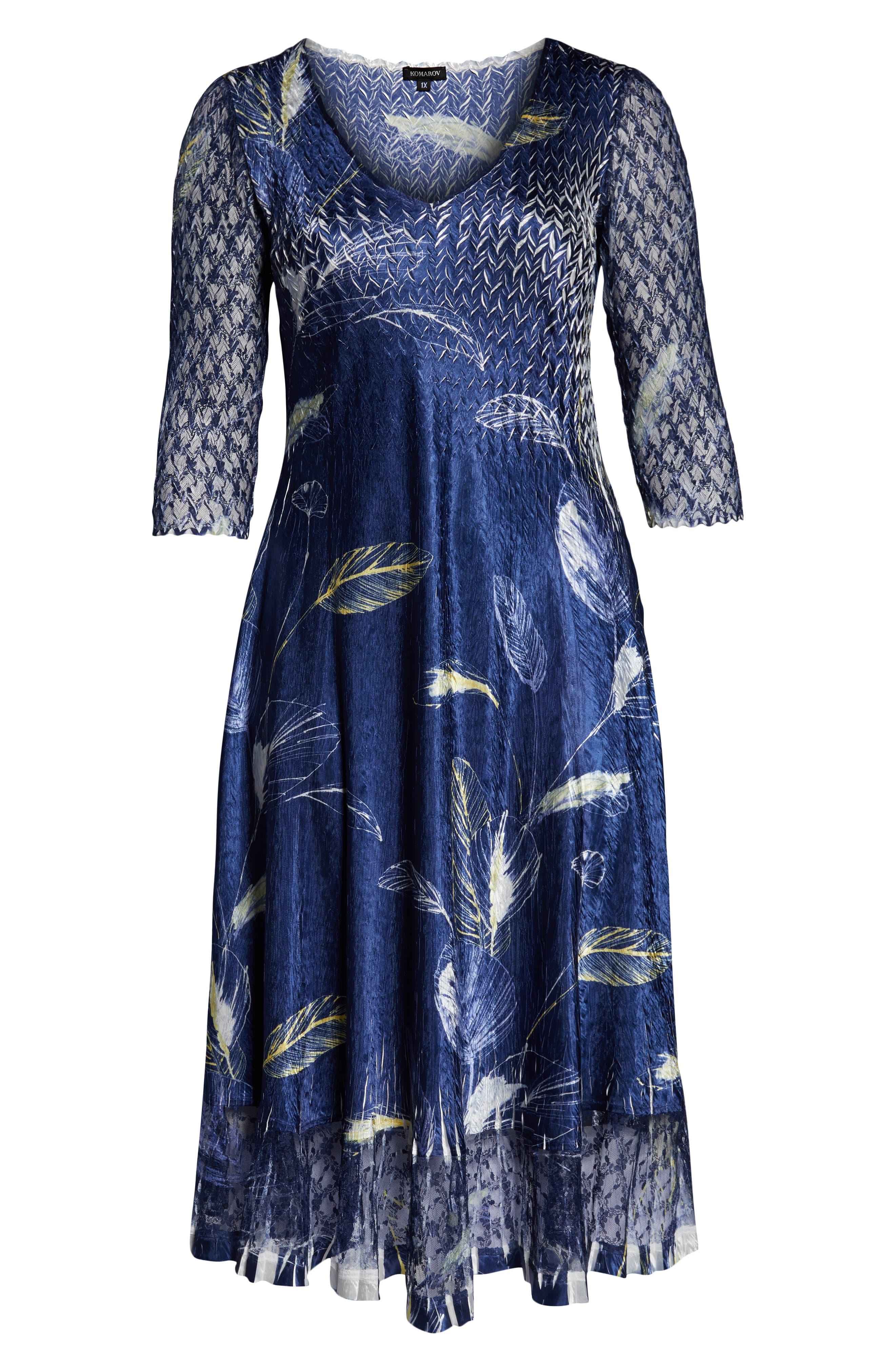 KOMAROV, Print Charmeuse A-Line Dress, Alternate thumbnail 7, color, INDIGO TROPIC