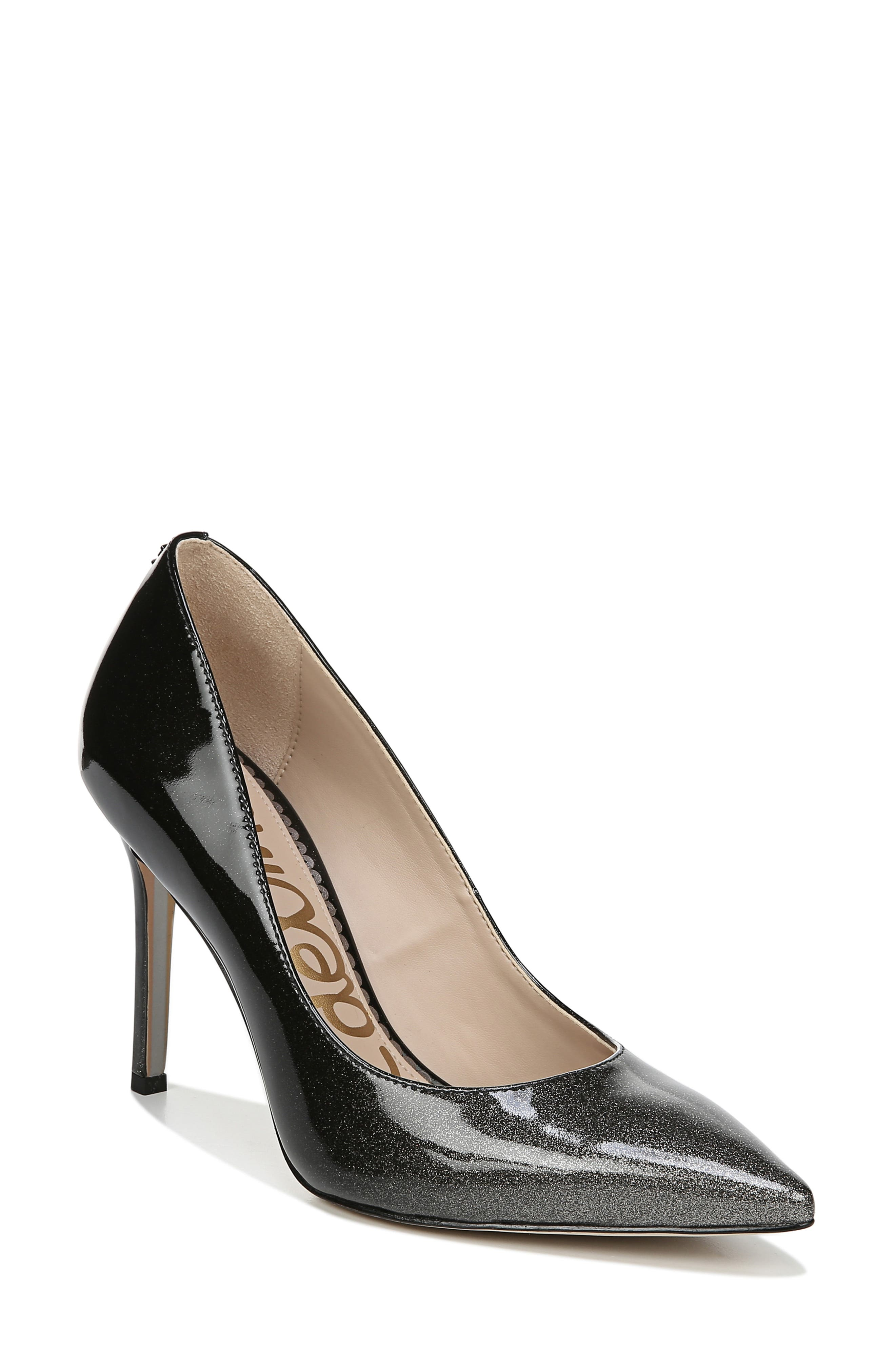 SAM EDELMAN, Hazel Pointy Toe Pump, Main thumbnail 1, color, BLACK/ SILVER