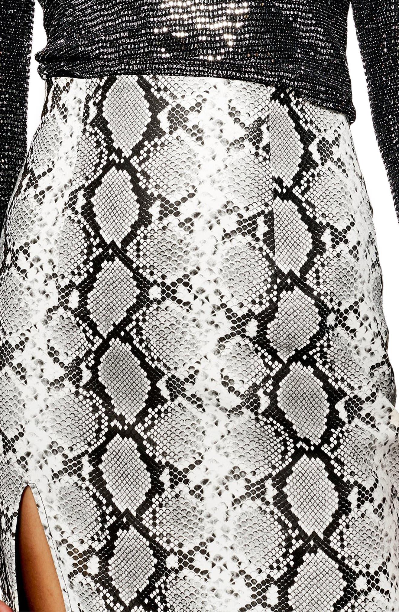 TOPSHOP, Snake Print Faux Leather Midi Skirt, Alternate thumbnail 3, color, 002