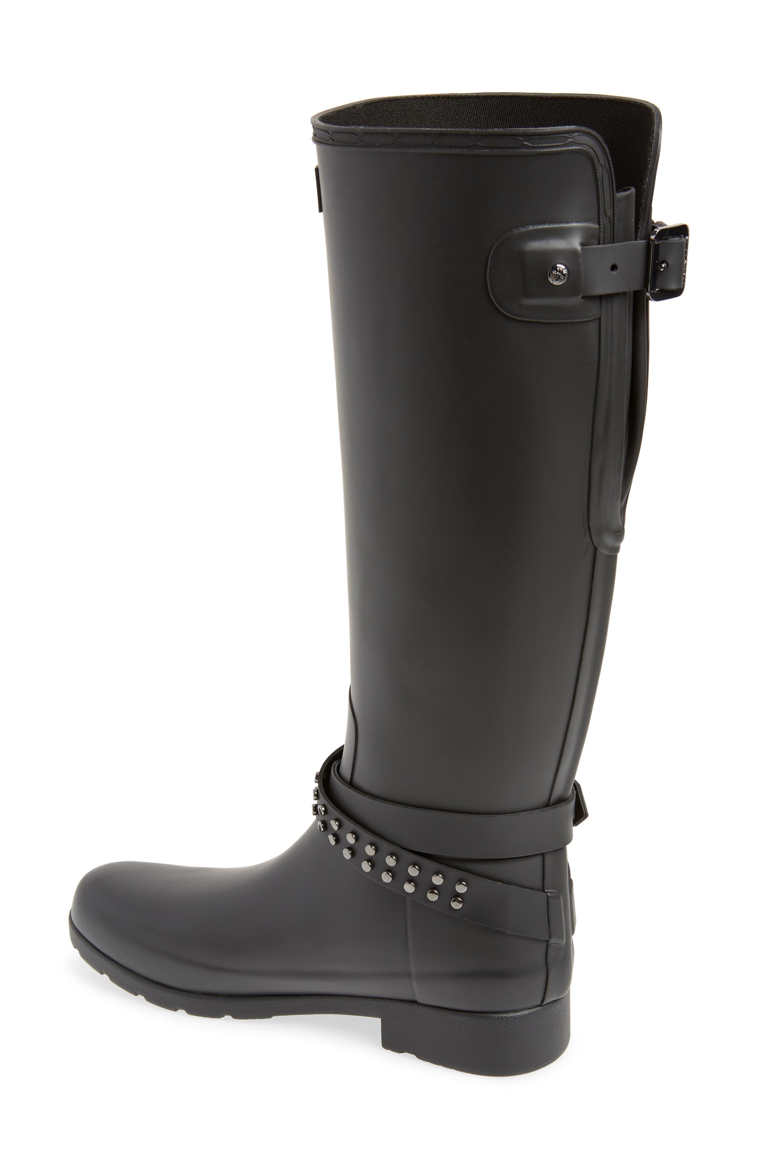 HUNTER, Refined Adjustable Back Knee High Waterproof Rain Boot, Alternate thumbnail 2, color, BLACK