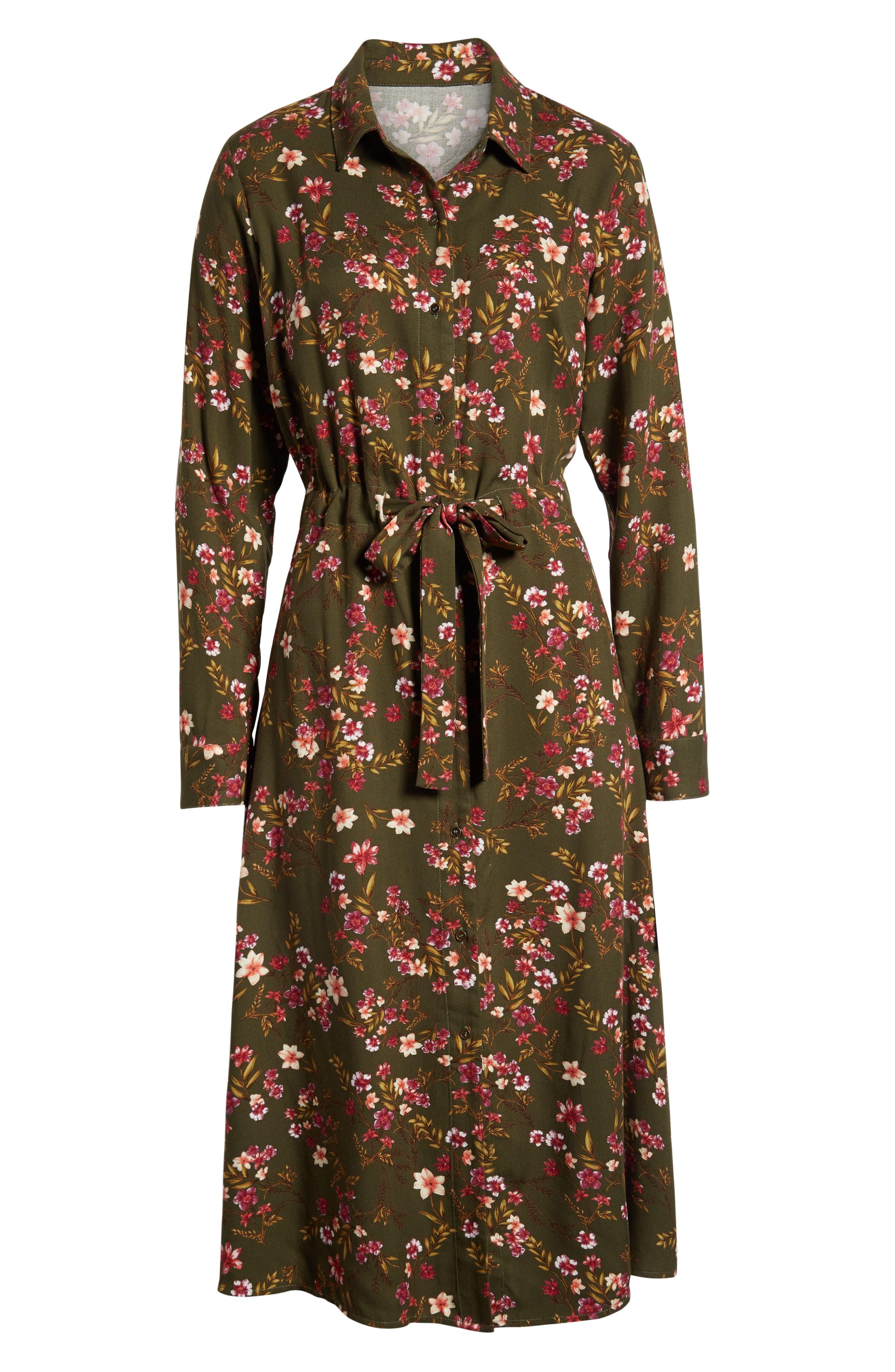 BP., Floral Midi Dress, Alternate thumbnail 7, color, OLIVE BURNT SAVANNAH FLORAL