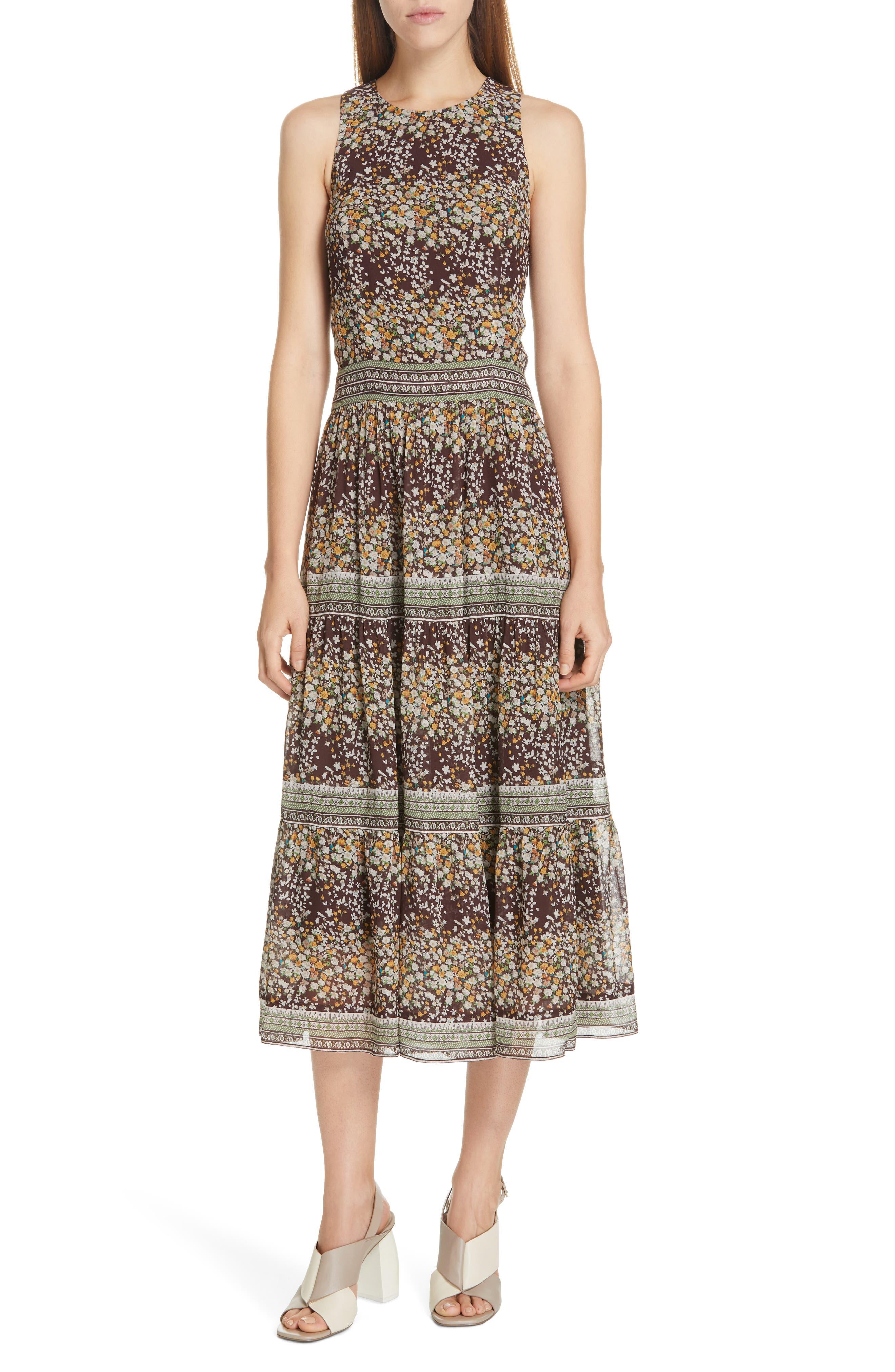 Sea Maya Floral Print Midi Dress, Brown